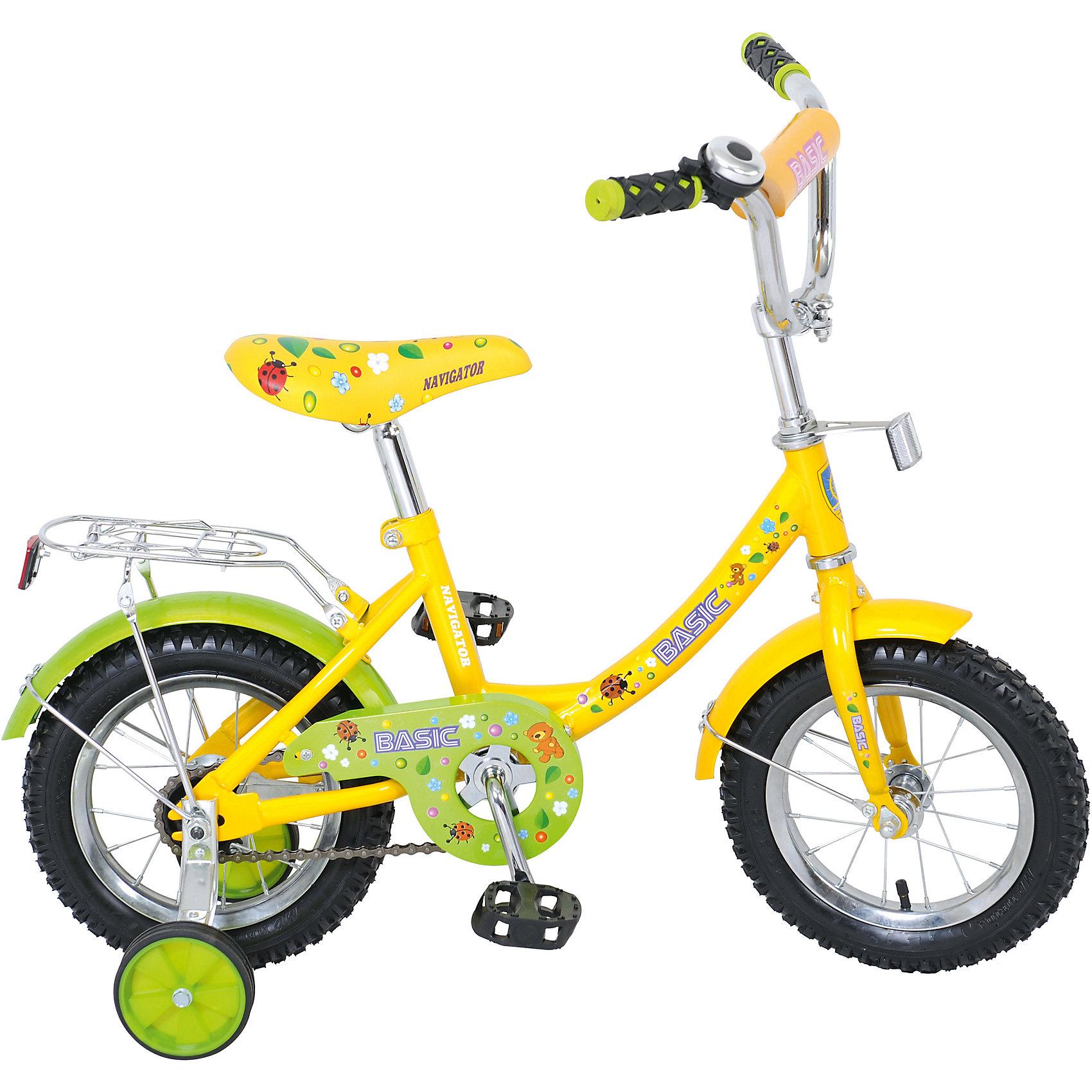 Двухколесный велосипед Basic, зелено-желтый, NavigatorДвухколесный велосипед Basic, зелено-желтый, Navigator (Навигатор)<br><br>Характеристики:<br><br>• широкие страховочные колеса<br>• удобное сиденье<br>• звонок<br>• багажник<br>• регулируемая высота сиденья и руля<br>• односоставной шатун<br>• колеса из прочной резины<br>• диаметр колес: 12 дюймов<br>• ножной задний тормоз<br>• защита цепи<br>• обод: сталь<br>• рост ребенка: 85-100 см<br>• длина велосипеда: 88 см<br>• размер упаковки: 17х33х72 см<br>• вес: 9 кг<br>• цвет: зелено-желтый<br><br>Двухколесный велосипед Basic отлично подойдет для обучения катанию на велосипеде. Широкие страховочные колеса защитят ребенка от падения при первых поездках. Высоту сидения и руль можно регулировать по росту ребенка. Колеса из прочной резины отлично ездят по любой дороге. <br><br>Сиденье с пенным наполнителем очень мягкое - маленький велосипедист сможет удобно расположиться в седле. Цепь имеет защиту от попадания посторонних предметов. Яркий дизайн велосипеда придется по вкусу всем начинающим водителям!<br><br>Двухколесный велосипед Basic, зелено-желтый, Navigator (Навигатор) можно купить в нашем интернет-магазине.<br><br>Ширина мм: 720<br>Глубина мм: 330<br>Высота мм: 170<br>Вес г: 9000<br>Возраст от месяцев: 48<br>Возраст до месяцев: 2147483647<br>Пол: Унисекс<br>Возраст: Детский<br>SKU: 5440871