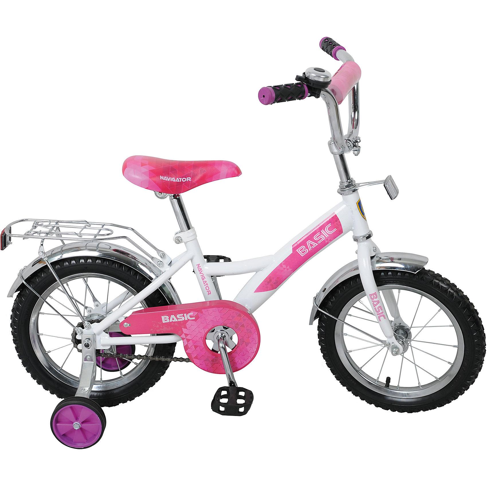 Двухколесный велосипед  Basic KITE, бело-фиолетовый, NavigatorВелосипеды детские<br>Двухколесный велосипед Basic KITE, бело-фиолетовый, Navigator (Навигатор)<br><br>Характеристики:<br><br>• съемные, широкие страховочные колеса<br>• руль с мягкой накладкой<br>• звонок<br>• багажник<br>• регулируемая высота сиденья и руля<br>• односоставной шатун<br>• колеса из прочной резины<br>• диаметр колес: 14 дюймов<br>• ножной задний тормоз<br>• защита цепи<br>• стальная рама<br>• рост ребенка: 100-120 см<br>• материал: металл, пластик, резина<br>• размер упаковки: 17х36х80 см<br>• вес: 9,8 кг<br>• цвет: бело-фиолетовый<br><br>Двухколесный велосипед Basic KITE отлично подойдет для девочек, которые только начинают учиться кататься на велосипеде. Широкие страховочные колеса помогут предотвратить падение во время первых поездок. Рама велосипеда изготовлена из стали. Колеса диаметром 14 дюймов выполнены из качественной резины. <br><br>Велосипед оснащен защитой цепи и ножным задним тормозом. Звонок и багажник станут приятным дополнением для юной водительницы. Высоту сидения и руль можно отрегулировать для удобства ребенка. Сиденье оформлено красивым рисунком, который непременно порадует начинающую велосипедистку.<br><br>Двухколесный велосипед Basic KITE, бело-фиолетовый, Navigator (Навигатор) вы можете купить в нашем интернет-магазине.<br><br>Ширина мм: 800<br>Глубина мм: 360<br>Высота мм: 170<br>Вес г: 9800<br>Возраст от месяцев: 48<br>Возраст до месяцев: 2147483647<br>Пол: Женский<br>Возраст: Детский<br>SKU: 5440872
