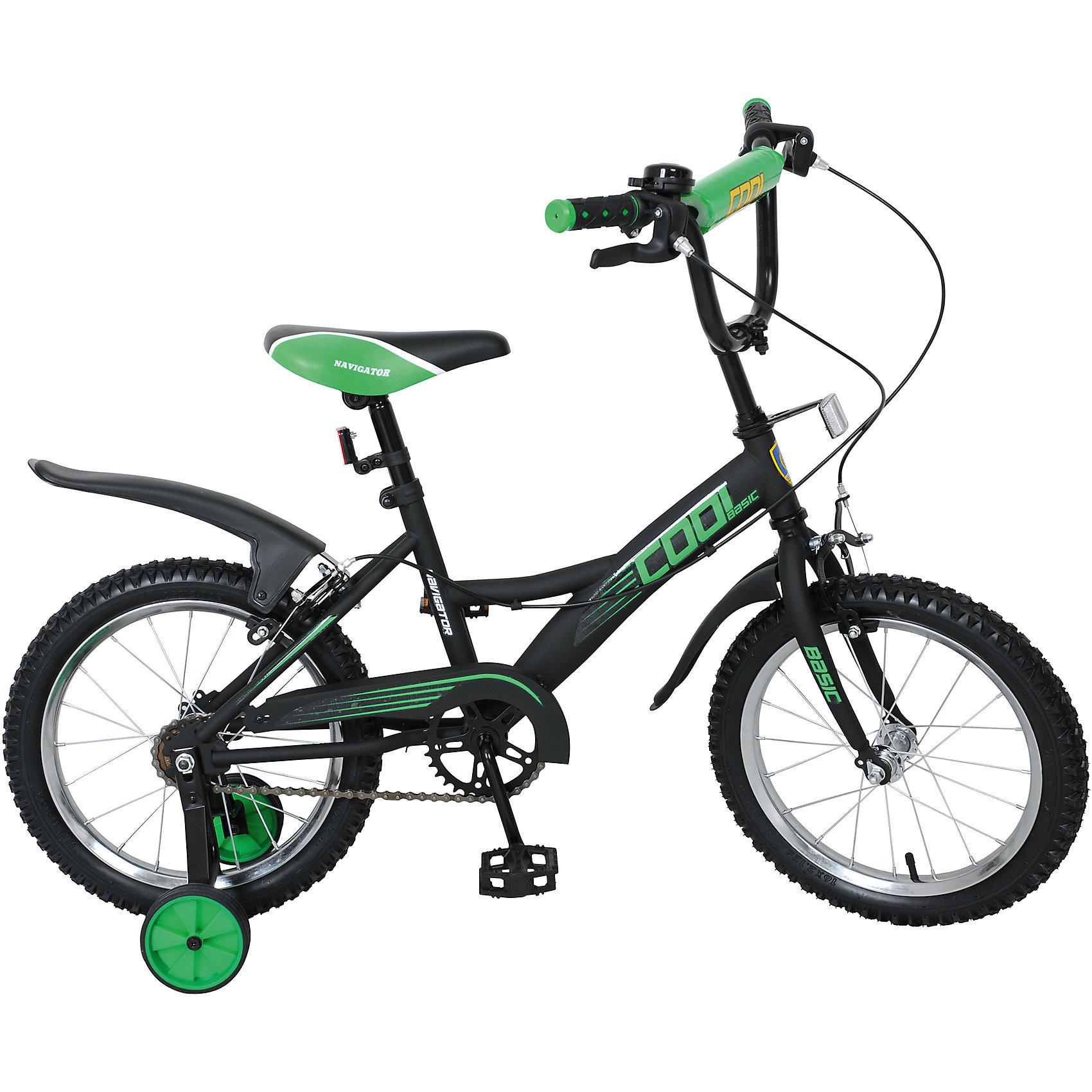 Двухколесный велосипед  Basic COOL KITE, черно-зеленый, NavigatorДвухколесный велосипед Basic COOL KITE, черно-зеленый, Navigator (Навигатор)<br><br>Характеристики:<br><br>• съемные, широкие страховочные колеса<br>• руль с мягкой накладкой<br>• звонок<br>• багажник<br>• регулируемая высота сиденья и руля<br>• односоставной шатун<br>• колеса из прочной резины<br>• диаметр колес: 16 дюймов<br>• передний и задний ручной тормоз<br>• защита цепи<br>• стальная рама<br>• рост ребенка: 100-125 см<br>• материал: металл, пластик, резина<br>• размер упаковки: 17х42х890 см<br>• вес: 10,8 кг<br>• цвет: черно-зеленый<br><br>Двухколесный велосипед Basic COOL KITE подарит много положительных эмоций во время поездки. Для комфорта ребенка предусмотрены плоские педали, изогнутая форма руля, а также регулируемая высота сиденья. Велосипед оснащен передним и задним тормозом. <br><br>Широкие страховочные колеса можно снять, когда ребенок научится ездить самостоятельно. Багажник позволит перевозить любимые игрушки. А звонок добавит радости во время поездки.  Колеса изготовлены из качественной резины. Диаметр колес - 16 дюймов. Сиденье имеет мягкое наполнение, комфортное для ребенка.<br><br>Двухколесный велосипед Basic COOL KITE, черно-зеленый, Navigator (Навигатор) вы можете купить в нашем интернет-магазине.<br><br>Ширина мм: 890<br>Глубина мм: 420<br>Высота мм: 170<br>Вес г: 10800<br>Возраст от месяцев: 60<br>Возраст до месяцев: 2147483647<br>Пол: Унисекс<br>Возраст: Детский<br>SKU: 5440873