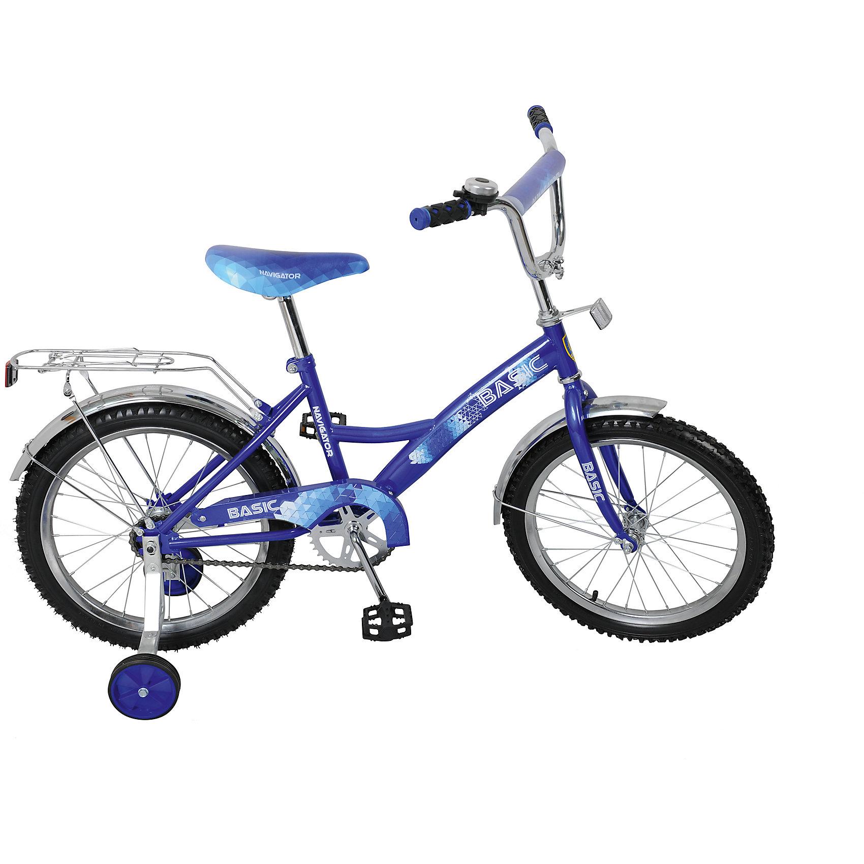 Двухколесный велосипед Basic, синий, NavigatorВелосипеды детские<br>Двухколесный велосипед Basic, синий, Navigator (Навигатор)<br><br>Характеристики:<br><br>• широкие страховочные колеса<br>• удобное сиденье<br>• звонок<br>• багажник<br>• регулируемая высота сиденья и руля<br>• односоставной шатун<br>• колеса из прочной резины<br>• диаметр колес: 18 дюймов<br>• ножной задний тормоз<br>• защита цепи<br>• обод: сталь<br>• рост ребенка: 110-130 см<br>• размер упаковки: 17х46х97 см<br>• вес: 11,9 кг<br>• цвет: синий<br><br>Двухколесный велосипед Basic  - прекрасный подарок для юных спортсменов. Он отлично подойдет для детей, которые уже умеют кататься, и для детей, начинающих осваивать велоспорт. После того, как ребенок научится кататься самостоятельно, вы сможете снять страховочные колеса. Высота сиденья и руля регулируются по росту ребенка. <br><br>Сиденье имеет мягкий наполнитель, удобный ребенку. Колеса диаметром 18 дюймов изготовлены из прочной резины. Велосипед оснащен защитой цепи и задним тормозом. Багажник над верхним колесом позволит ребенку перевезти необходимые вещи, не прилагая дополнительных усилий. Велосипед имеет стильный дизайн, который идеально подойдет маленькому гонщику.<br><br>Двухколесный велосипед Basic, синий, Navigator (Навигатор) можно купить в нашем интернет-магазине.<br><br>Ширина мм: 970<br>Глубина мм: 460<br>Высота мм: 170<br>Вес г: 11900<br>Возраст от месяцев: 72<br>Возраст до месяцев: 2147483647<br>Пол: Мужской<br>Возраст: Детский<br>SKU: 5440874