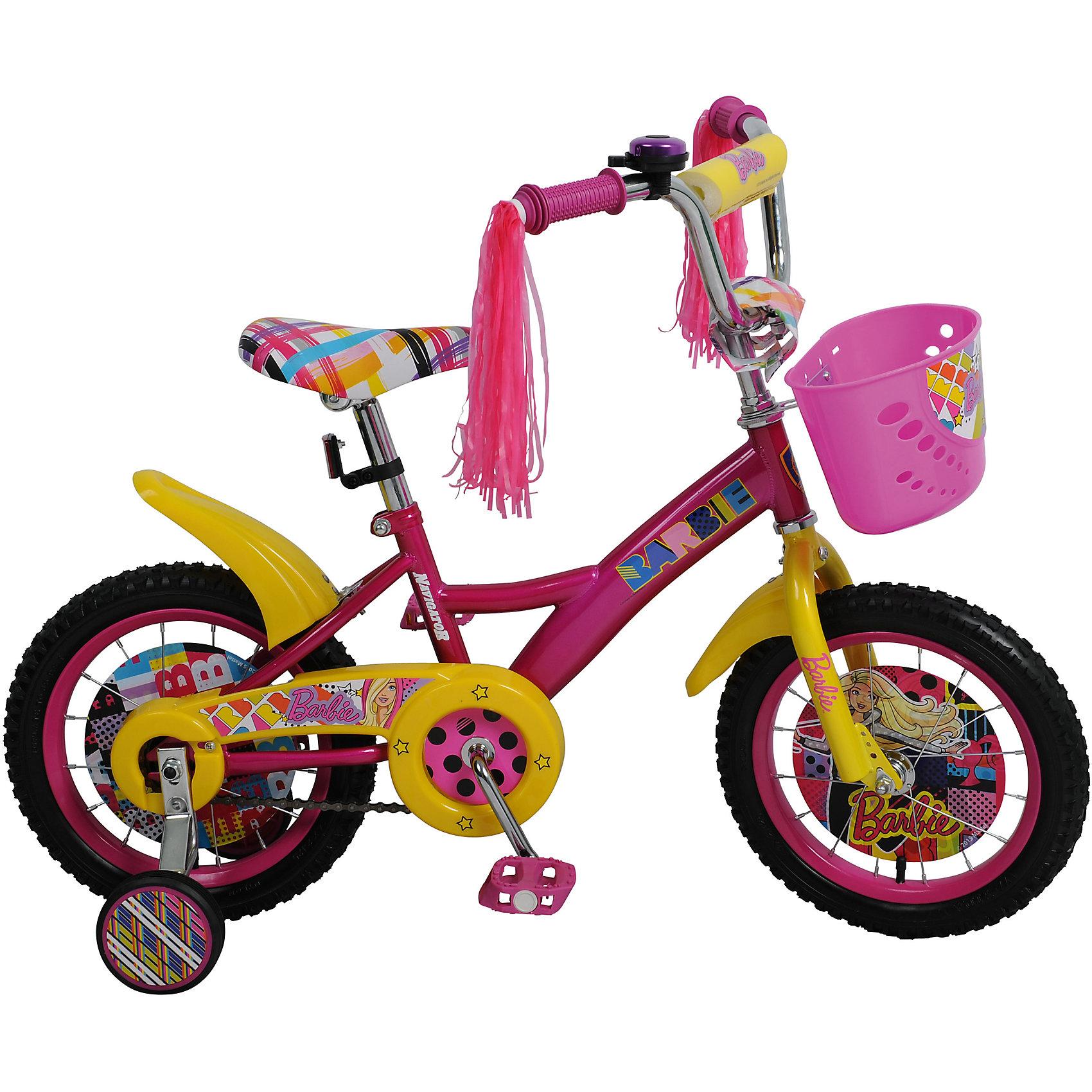 Двухколесный велосипед KITE, Barbie, NavigatorДвухколесный велосипед KITE, Barbie, Navigator (Навигатор)<br><br>Характеристики:<br><br>• съемные, широкие страховочные колеса<br>• руль с мягкой накладкой<br>• звонок<br>• багажник<br>• передняя корзина<br>• цветные вставки с любимыми Барби<br>• регулируемая высота сиденья и руля<br>• односоставной шатун<br>• колеса из прочной резины<br>• диаметр колес: 14 дюймов<br>• ножной задний тормоз<br>• защита цепи<br>• стальная рама<br>• рост ребенка: 95-115 см<br>• материал: металл, пластик, резина<br>• размер упаковки: 17х36х80 см<br>• вес: 10,5 кг<br>• цвет: розовый-желтый<br><br>Велосипед KITE Barbie понравится каждой поклоннице Барби. Рама и сиденье выполнены в стиле любимых кукол, а колеса и руль имеют вставки с изображениями Барби. Велосипед оснащен двумя основными колесами и двумя дополнительными. <br><br>Страховочные колеса можно снять, когда ребенок научится кататься самостоятельно. Высота сидения и руль регулируются по возрасту ребенка.  Руль дополнен звонком и корзинкой, в которой девочка сможет перевозить любимые игрушки.<br><br>Двухколесный велосипед KITE, Barbie, Navigator (Навигатор) вы можете купить в нашем интернет-магазине.<br><br>Ширина мм: 800<br>Глубина мм: 360<br>Высота мм: 170<br>Вес г: 10500<br>Возраст от месяцев: 48<br>Возраст до месяцев: 2147483647<br>Пол: Унисекс<br>Возраст: Детский<br>SKU: 5440875