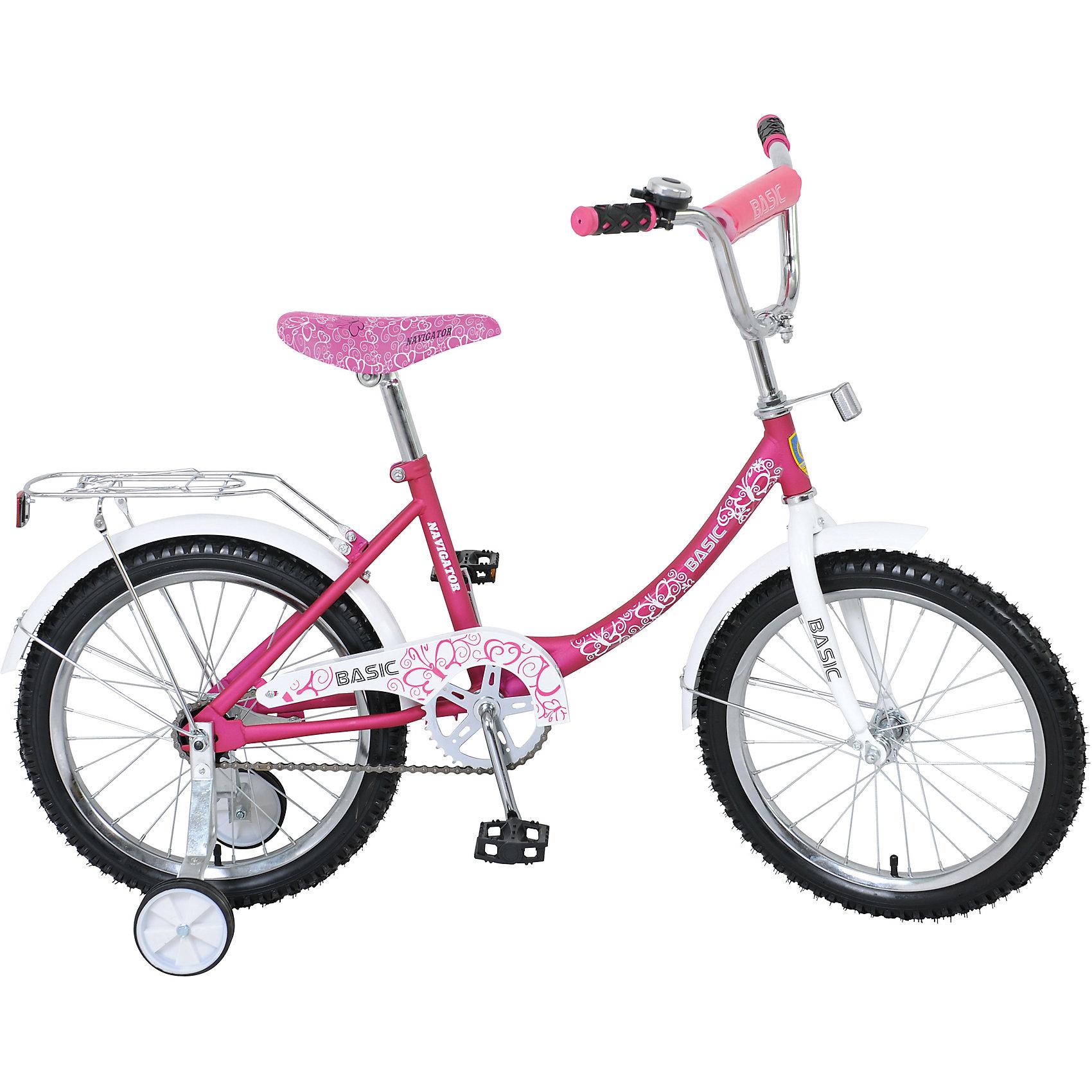 Двухколесный велосипед Basic, розово-белый, Navigator