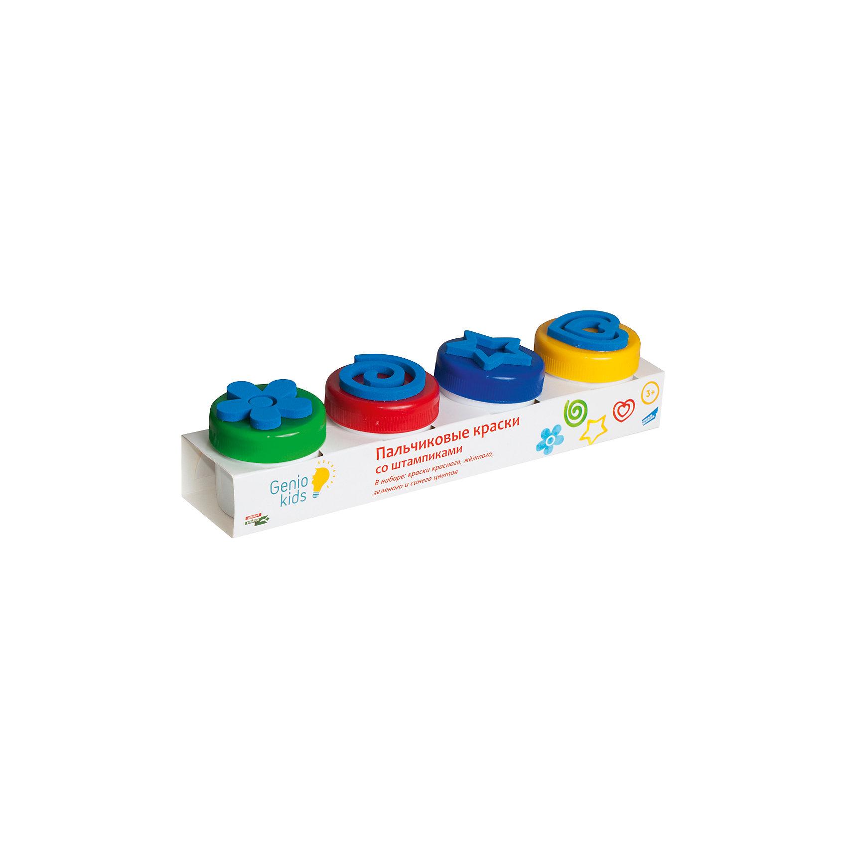 Набор для детского творчества Пальчиковые краски со штампикамиРисование<br>Набор с пальчиковыми красками 4 цвета (красный, синий, желтый, зеленый) по 50 мл в банках со штампиками.<br><br>Ширина мм: 310<br>Глубина мм: 76<br>Высота мм: 78<br>Вес г: 270<br>Возраст от месяцев: 36<br>Возраст до месяцев: 72<br>Пол: Унисекс<br>Возраст: Детский<br>SKU: 5441226