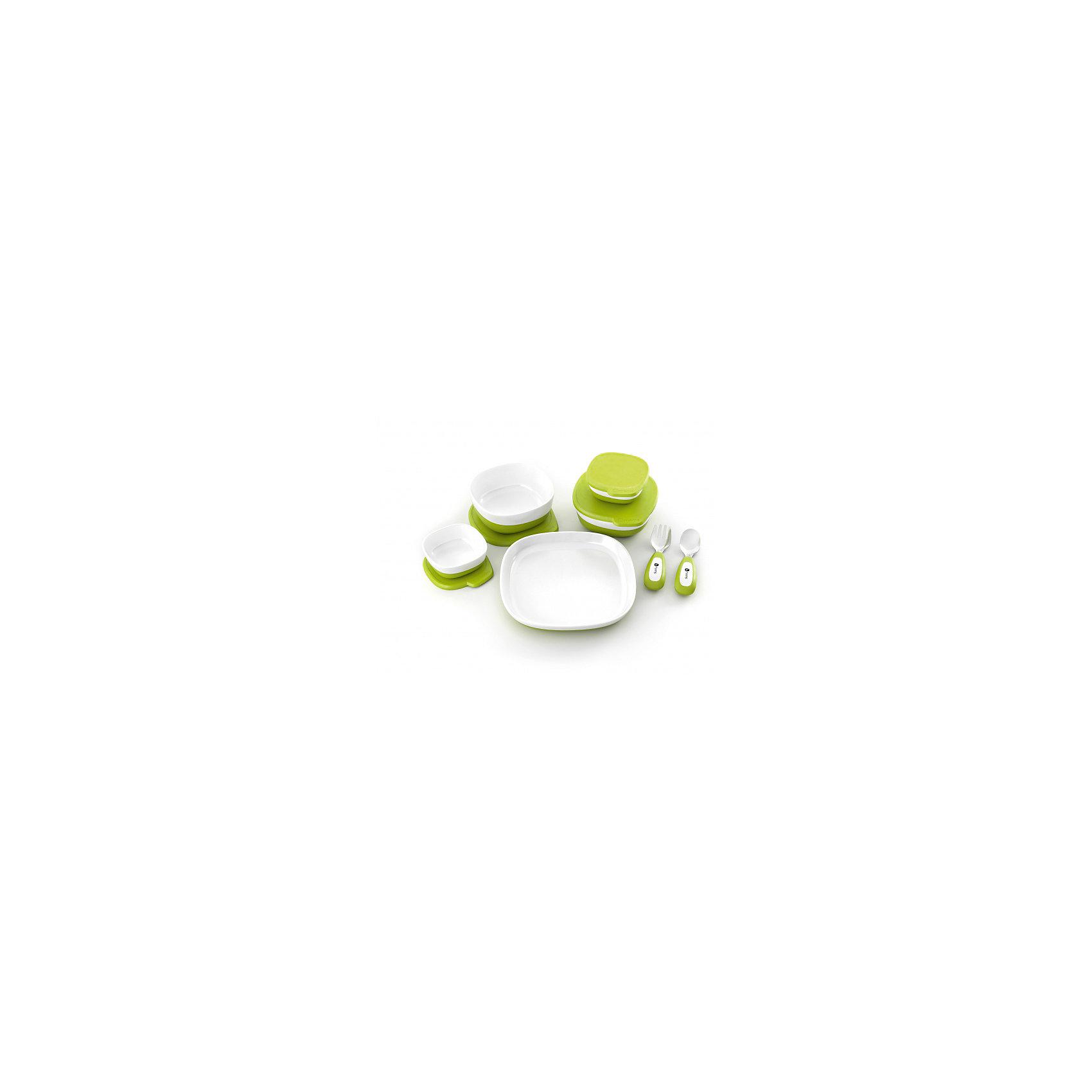 Набор магнитной посуды для стульчика, 4momsПосуда для малышей<br>Характеристики товара:<br><br>• возраст с рождения;<br>• материал: пластик;<br>• в комплекте: 4 глубокие тарелки с крышками, тарелка, ложка, вилка;<br>• размер упаковки 28,5х23х10 см;<br>• вес упаковки 2 кг;<br>• страна производитель: США<br><br>Набор магнитной посуды для стульчика 4moms разработан специально для стульчика для кормления с магнитной столешницей. Вся посуда надежно фиксируется на столешнице при помощи магнитов и не падает. Посуда изготовлена из качественного безопасного для малыша пластика. Предметы можно мыть в посудомоечной машине, но нельзя использовать в микроволновой печи.<br><br>Набор магнитной посуды для стульчика 4moms можно приобрести в нашем интернет-магазине.<br><br>Ширина мм: 289<br>Глубина мм: 231<br>Высота мм: 100<br>Вес г: 1130<br>Цвет: зеленый<br>Возраст от месяцев: 6<br>Возраст до месяцев: 36<br>Пол: Унисекс<br>Возраст: Детский<br>SKU: 5442006