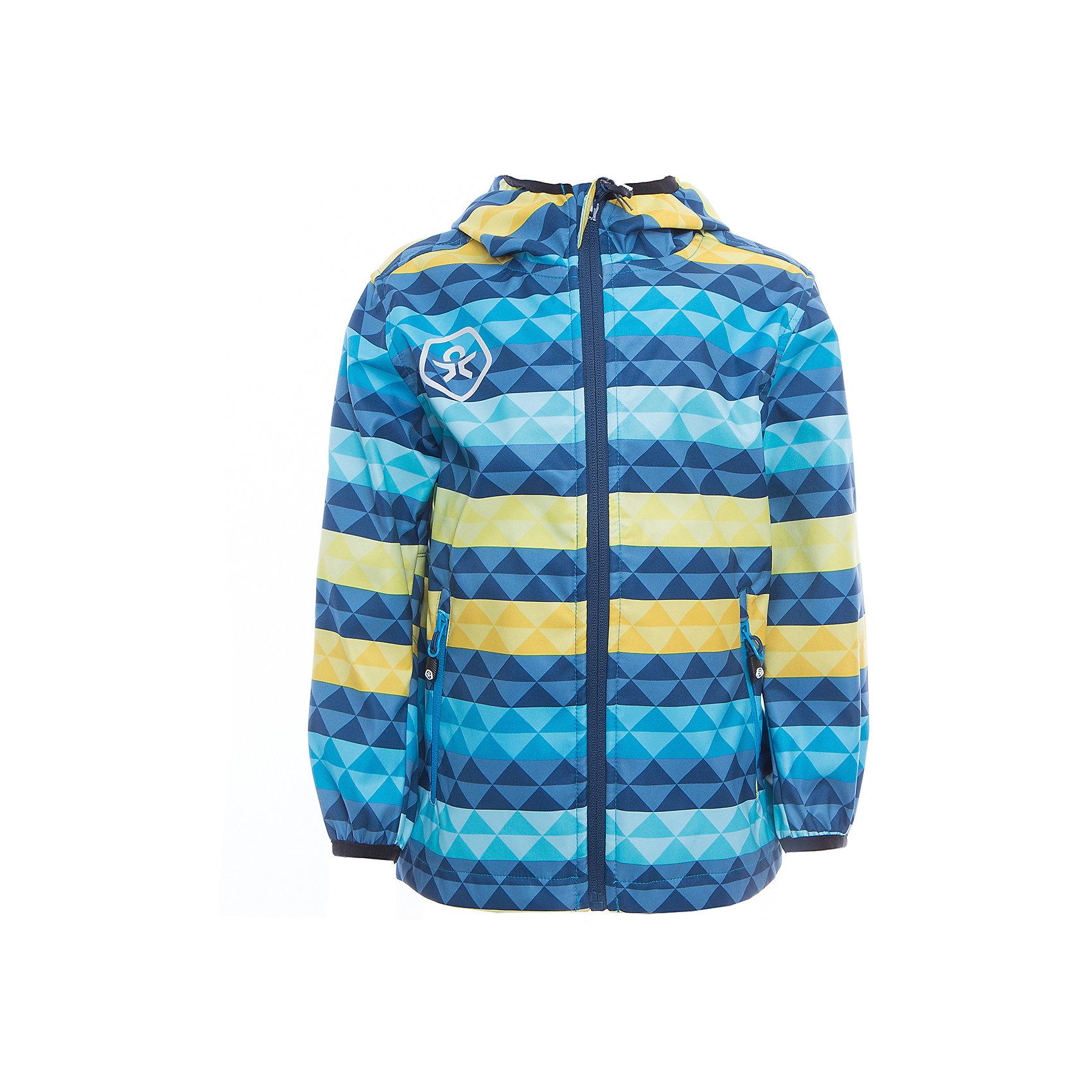 Куртка для мальчика Color KidsВерхняя одежда<br>Характеристики товара:<br><br>• цвет: голубой<br>• состав: 100 % полиэстер, softshell клееный с интерлоком<br>• без подкладки (для Softshell она не нужна, внутренняя сторона этой ткани очень приятная на ощупь)<br>• без утеплителя<br>• температурный режим: от +10 С° до +20 С°<br>• мембранная технология<br>• водонепроницаемость: 8000 мм<br>• воздухопроницаемость: 3000 мм<br>• ветрозащитный<br>• проклеенные швы<br>• регулируемый низ куртки<br>• светоотражающие детали<br>• застежка: молния<br>• вшитый капюшон с оторочкой кантом<br>• защита подбородка<br>• два кармана на молнии<br>• логотип<br>• страна бренда: Дания<br><br>Эта симпатичная и удобная куртка сделана из непромокаемого легкого материала, поэтому отлично подойдет для дождливой погоды в весенне-летний сезон. Она комфортно сидит и обеспечивает ребенку необходимое удобство. Очень стильно смотрится.<br><br>Куртку для мальчика от датского бренда Color Kids (Колор кидз) можно купить в нашем интернет-магазине.<br><br>Ширина мм: 356<br>Глубина мм: 10<br>Высота мм: 245<br>Вес г: 519<br>Цвет: голубой<br>Возраст от месяцев: 18<br>Возраст до месяцев: 24<br>Пол: Мужской<br>Возраст: Детский<br>Размер: 92,122,128,140,152,104,104,110,98,116<br>SKU: 5443079