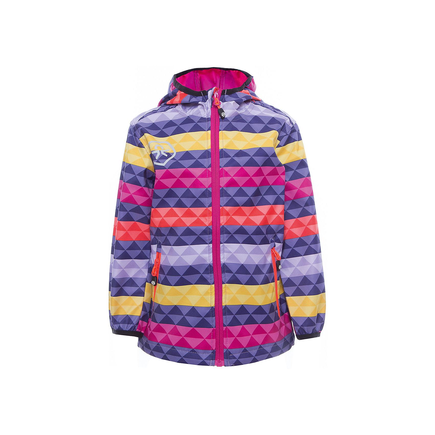 Куртка для девочки Color KidsВерхняя одежда<br>Характеристики товара:<br><br>• цвет: фиолетовый<br>• состав: 100 % полиэстер, softshell клееный с интерлоком<br>• без подкладки (для Softshell она не нужна, внутренняя сторона этой ткани очень приятная на ощупь)<br>• без утеплителя<br>• температурный режим: от +10 С° до +20 С°<br>• мембранная технология<br>• водонепроницаемость: 8000 мм<br>• воздухопроницаемость: 3000 мм<br>• ветрозащитный<br>• проклеенные швы<br>• регулируемый низ куртки<br>• светоотражающие детали<br>• застежка: молния<br>• вшитый капюшон с оторочкой кантом<br>• защита подбородка<br>• два кармана на молнии<br>• логотип<br>• страна бренда: Дания<br><br>Эта симпатичная и удобная куртка сделана из непромокаемого легкого материала, поэтому отлично подойдет для дождливой погоды в весенне-летний сезон. Она комфортно сидит и обеспечивает ребенку необходимое удобство. Очень стильно смотрится.<br><br>Куртку для мальчика от датского бренда Color Kids (Колор кидз) можно купить в нашем интернет-магазине.<br><br>Ширина мм: 356<br>Глубина мм: 10<br>Высота мм: 245<br>Вес г: 519<br>Цвет: лиловый<br>Возраст от месяцев: 24<br>Возраст до месяцев: 36<br>Пол: Женский<br>Возраст: Детский<br>Размер: 98,104,110,116,122,128,140,152,92,104<br>SKU: 5443089