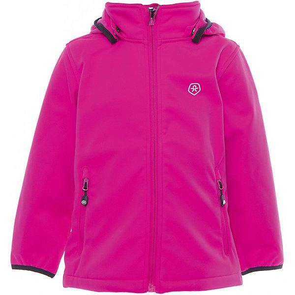 Куртка для девочки Color KidsВерхняя одежда<br>Характеристики товара:<br><br>• цвет: фуксия<br>• состав: 100 % полиэстер, softshell клееный с флисом<br>• без подкладки (для Softshell она не нужна, внутренняя сторона этой ткани очень приятная на ощупь)<br>• без утеплителя<br>• температурный режим: +10 С° до +20 С°<br>• мембранная технология<br>• водонепроницаемость: 5000 мм<br>• воздухопроницаемость: 1000 мм<br>• регулируемый низ куртки<br>• светоотражающие детали<br>• застежка: молния<br>• съёмный капюшон на кнопках<br>• защита подбородка<br>• два кармана на молнии<br>• логотип<br>• страна бренда: Дания<br><br>Эта симпатичная и удобная куртка сделана из непромокаемого легкого материала, поэтому отлично подойдет для дождливой погоды в весенне-летний сезон. Она комфортно сидит и обеспечивает ребенку необходимое удобство. Очень стильно смотрится. <br><br>Куртку для мальчика от датского бренда Color Kids (Колор кидз) можно купить в нашем интернет-магазине.<br>Ширина мм: 356; Глубина мм: 10; Высота мм: 245; Вес г: 519; Цвет: красный; Возраст от месяцев: 12; Возраст до месяцев: 15; Пол: Женский; Возраст: Детский; Размер: 80,98,92,86; SKU: 5443109;