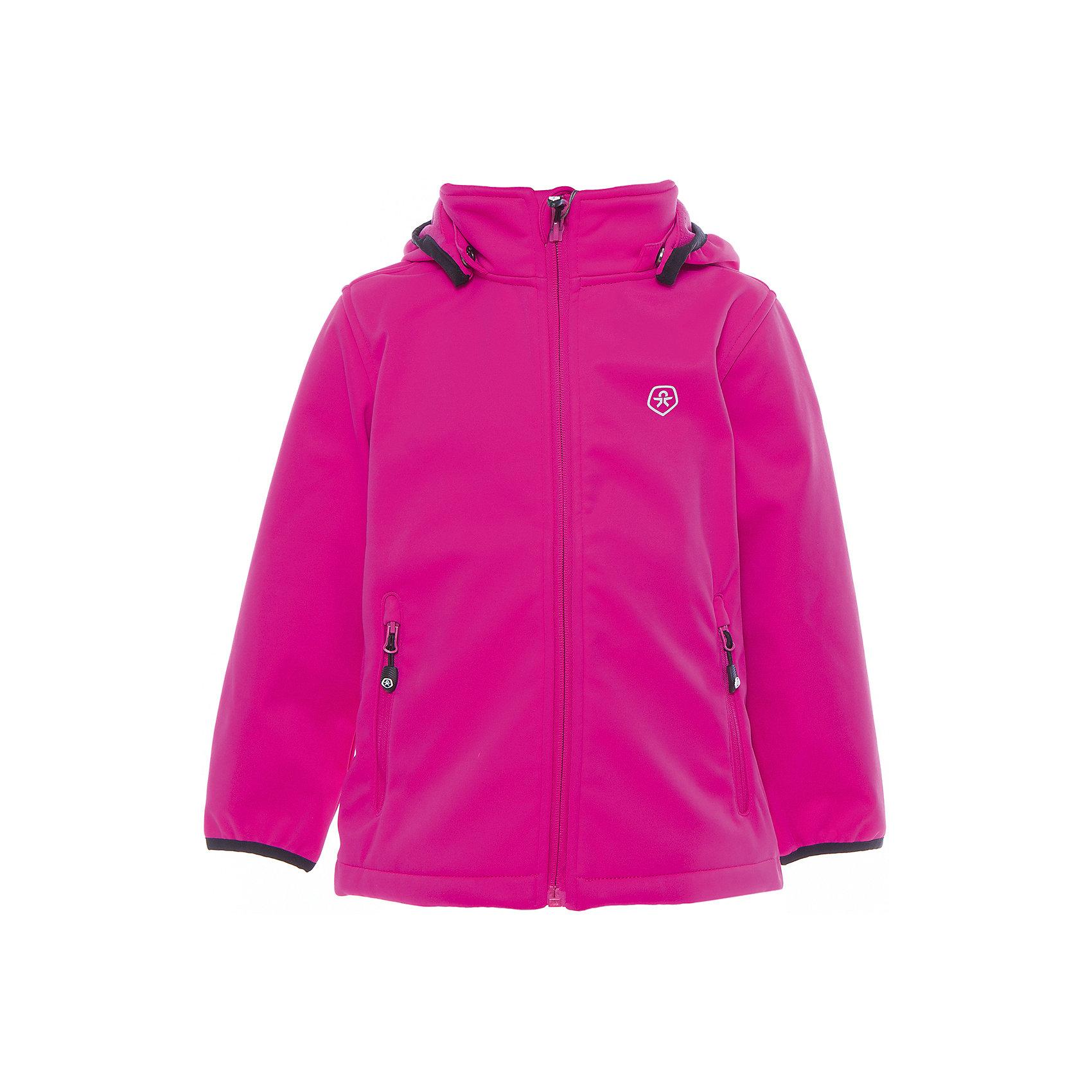 Куртка для девочки Color KidsВерхняя одежда<br>Характеристики товара:<br><br>• цвет: фуксия<br>• состав: 100 % полиэстер, softshell клееный с флисом<br>• без подкладки (для Softshell она не нужна, внутренняя сторона этой ткани очень приятная на ощупь)<br>• без утеплителя<br>• температурный режим: +10 С° до +20 С°<br>• мембранная технология<br>• водонепроницаемость: 5000 мм<br>• воздухопроницаемость: 1000 мм<br>• регулируемый низ куртки<br>• светоотражающие детали<br>• застежка: молния<br>• съёмный капюшон на кнопках<br>• защита подбородка<br>• два кармана на молнии<br>• логотип<br>• страна бренда: Дания<br><br>Эта симпатичная и удобная куртка сделана из непромокаемого легкого материала, поэтому отлично подойдет для дождливой погоды в весенне-летний сезон. Она комфортно сидит и обеспечивает ребенку необходимое удобство. Очень стильно смотрится. <br><br>Куртку для мальчика от датского бренда Color Kids (Колор кидз) можно купить в нашем интернет-магазине.<br><br>Ширина мм: 356<br>Глубина мм: 10<br>Высота мм: 245<br>Вес г: 519<br>Цвет: красный<br>Возраст от месяцев: 24<br>Возраст до месяцев: 36<br>Пол: Женский<br>Возраст: Детский<br>Размер: 98,80,86,92<br>SKU: 5443109