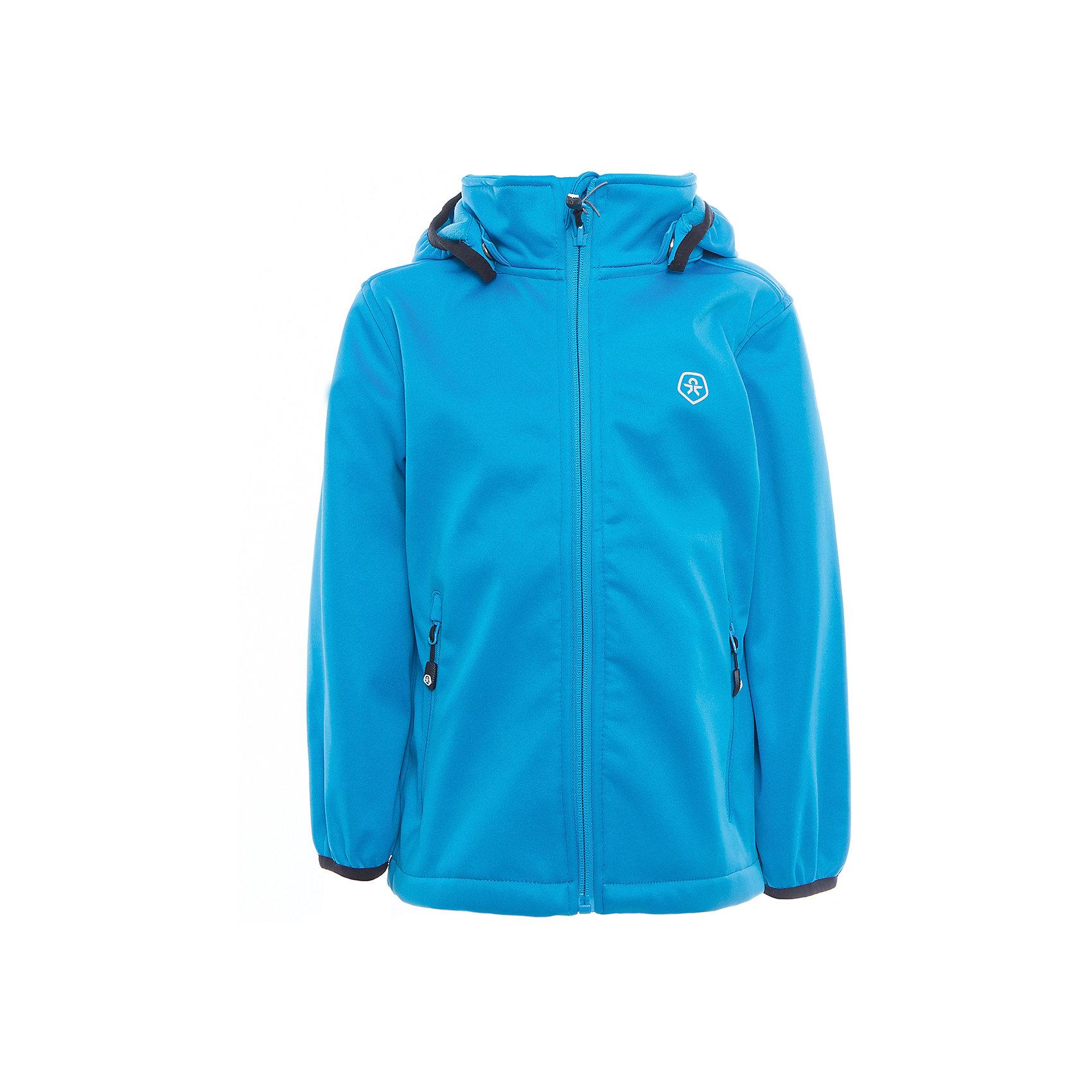 Куртка для мальчика Color KidsВерхняя одежда<br>Характеристики товара:<br><br>• цвет: голубой<br>• состав: 100 % полиэстер, softshell клееный с флисом<br>• без утеплителя<br>• температурный режим: от +5°до +15°С<br>• мембранная технология<br>• водонепроницаемость: 5000 мм<br>• воздухопроницаемость: 1000 г/м2/24ч<br>• ветрозащитный<br>• регулируемый низ куртки<br>• светоотражающие детали<br>• застежка: молния<br>• съёмный капюшон на кнопках<br>• защита подбородка<br>• два кармана на молнии<br>• логотип<br>• страна бренда: Дания<br><br>Эта симпатичная и удобная куртка сделана из непромокаемого легкого материала, поэтому отлично подойдет для дождливой погоды в весенне-летний сезон. Она комфортно сидит и обеспечивает ребенку необходимое удобство. Очень стильно смотрится. <br><br>Куртку для мальчика от датского бренда Color Kids (Колор кидз) можно купить в нашем интернет-магазине.<br><br>Ширина мм: 356<br>Глубина мм: 10<br>Высота мм: 245<br>Вес г: 519<br>Цвет: голубой<br>Возраст от месяцев: 24<br>Возраст до месяцев: 36<br>Пол: Мужской<br>Возраст: Детский<br>Размер: 98,104,110,116,122,128,140,152,92<br>SKU: 5443230