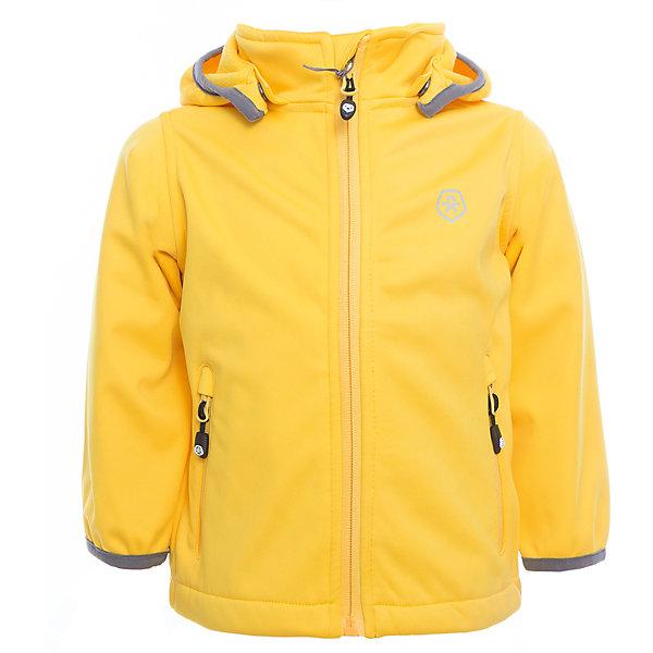 Куртка  Color KidsВерхняя одежда<br>Характеристики товара:<br><br>• цвет: жёлтый<br>• состав: 100 % полиэстер, softshell клееный с флисом<br>• без утеплителя<br>• температурный режим: от +5°до +15°С<br>• мембранная технология<br>• водонепроницаемость: 5000 мм<br>• воздухопроницаемость: 1000 г/м2/24ч<br>• ветрозащитный<br>• регулируемый низ куртки<br>• светоотражающие детали<br>• застежка: молния<br>• съёмный капюшон на кнопках<br>• защита подбородка<br>• два кармана на молнии<br>• логотип<br>• страна бренда: Дания<br><br>Эта симпатичная и удобная куртка сделана из непромокаемого легкого материала, поэтому отлично подойдет для дождливой погоды в весенне-летний сезон. Она комфортно сидит и обеспечивает ребенку необходимое удобство. Очень стильно смотрится. <br><br>Куртку для мальчика от датского бренда Color Kids (Колор кидз) можно купить в нашем интернет-магазине.<br>Ширина мм: 356; Глубина мм: 10; Высота мм: 245; Вес г: 519; Цвет: желтый; Возраст от месяцев: 18; Возраст до месяцев: 24; Пол: Унисекс; Возраст: Детский; Размер: 92,104,98,152,140,128,122,116,110; SKU: 5443240;
