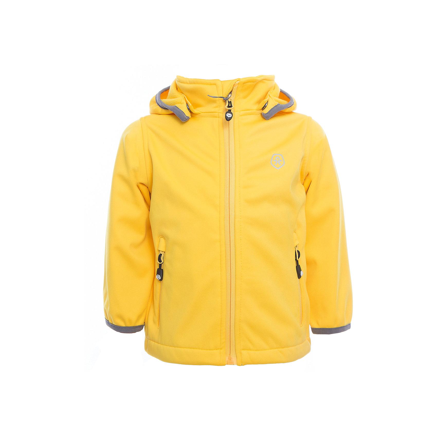 Куртка  Color KidsВерхняя одежда<br>Характеристики товара:<br><br>• цвет: жёлтый<br>• состав: 100 % полиэстер, softshell клееный с флисом<br>• без утеплителя<br>• температурный режим: от +5°до +15°С<br>• мембранная технология<br>• водонепроницаемость: 5000 мм<br>• воздухопроницаемость: 1000 г/м2/24ч<br>• ветрозащитный<br>• регулируемый низ куртки<br>• светоотражающие детали<br>• застежка: молния<br>• съёмный капюшон на кнопках<br>• защита подбородка<br>• два кармана на молнии<br>• логотип<br>• страна бренда: Дания<br><br>Эта симпатичная и удобная куртка сделана из непромокаемого легкого материала, поэтому отлично подойдет для дождливой погоды в весенне-летний сезон. Она комфортно сидит и обеспечивает ребенку необходимое удобство. Очень стильно смотрится. <br><br>Куртку для мальчика от датского бренда Color Kids (Колор кидз) можно купить в нашем интернет-магазине.<br><br>Ширина мм: 356<br>Глубина мм: 10<br>Высота мм: 245<br>Вес г: 519<br>Цвет: желтый<br>Возраст от месяцев: 24<br>Возраст до месяцев: 36<br>Пол: Унисекс<br>Возраст: Детский<br>Размер: 98,104,110,116,122,128,140,152,92<br>SKU: 5443240