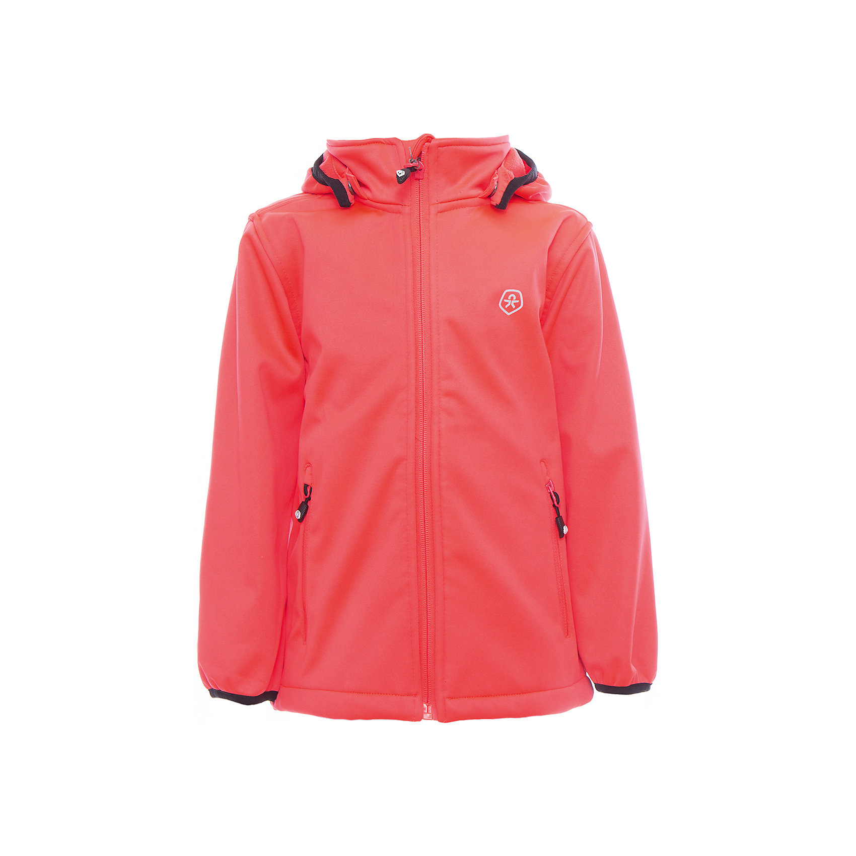 Куртка для девочки Color KidsВерхняя одежда<br>Характеристики товара:<br><br>• цвет: коралл<br>• состав: 100 % полиэстер, softshell клееный с флисом<br>• без утеплителя<br>• температурный режим: от +5°до +15°С<br>• мембранная технология<br>• водонепроницаемость: 5000 мм<br>• воздухопроницаемость: 1000 г/м2/24ч<br>• ветрозащитный<br>• регулируемый низ куртки<br>• светоотражающие детали<br>• застежка: молния<br>• съёмный капюшон на кнопках<br>• защита подбородка<br>• два кармана на молнии<br>• логотип<br>• страна бренда: Дания<br><br>Эта симпатичная и удобная куртка сделана из непромокаемого легкого материала, поэтому отлично подойдет для дождливой погоды в весенне-летний сезон. Она комфортно сидит и обеспечивает ребенку необходимое удобство. Очень стильно смотрится. <br><br>Куртку для мальчика от датского бренда Color Kids (Колор кидз) можно купить в нашем интернет-магазине.<br><br>Ширина мм: 356<br>Глубина мм: 10<br>Высота мм: 245<br>Вес г: 519<br>Цвет: розовый<br>Возраст от месяцев: 24<br>Возраст до месяцев: 36<br>Пол: Женский<br>Возраст: Детский<br>Размер: 98,104,110,116,122,128,140,152,92<br>SKU: 5443250