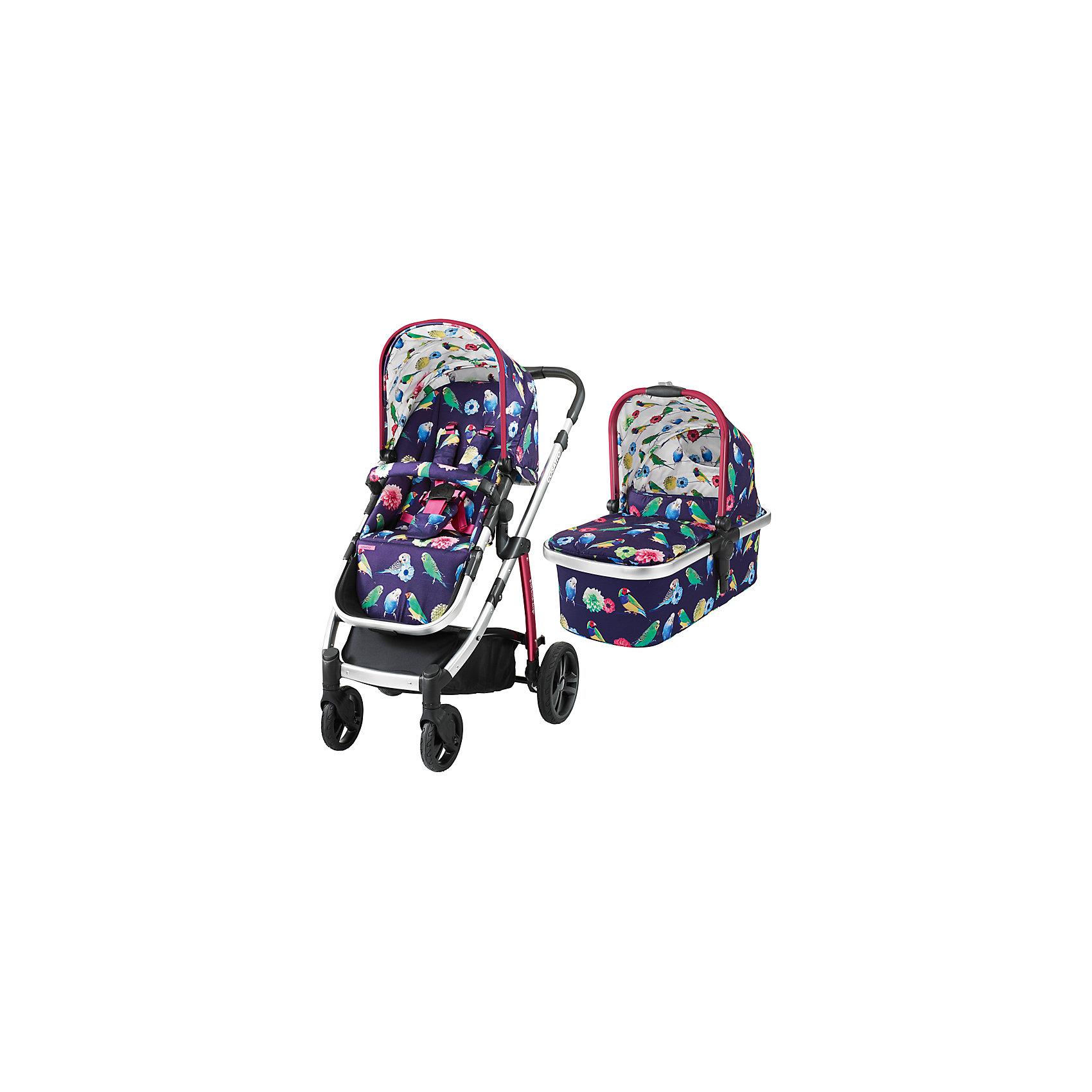 Коляска 2 в 1 Cosatto Wow, EdenГруппа 0+ (До 13 кг)<br>Рады представить Вам модульную коляску 2017 года Cosatto WOW. Для прогулок с новорожденным предусмотрена комфортная люлька с теплой накидкой и мягким матрасиком. Для ребенка постарше на шасси устанавливается прогулочное сиденье. Если малыш захочет поспать прямо во время путешествия, сиденье легко можно перевести в специальное положение для отдыха.<br><br>Коляской легко и приятно управлять благодаря вращающимся передним колесам, а амортизация обеспечивает плавный ход на любой местности.<br><br>Характеристики:<br><br>    Для детей с рождения (люлька) до 4 лет (прогулочный блок), весом до 15 кг<br>    Комфортное сиденье может быть установлено лицом к маме либо по ходу движения<br>    Капюшон с выдвижным солнцезащитным козырьком<br>    Петли для игрушек, расположенные на капюшоне<br>    5-точечные ремни безопасности с мягкими накладками<br>    Съемный бампер-ограничитель, обитый тканью<br>    Телескопическая ручка с обивкой из кожзаменителя, регулируется по высоте<br>    Резиновые колеса повышенной проходимости<br>    Передние колеса - поворотные, оснащены фиксаторами<br>    Амортизация на всех колесах<br>    Легкая алюминиевая рама<br>    Большая корзина для покупок с удобными отделениями<br>    Возможность установки на шасси коляски автокресла Cosatto Port группы 0+ (приобретается дополнительно)<br>    В комплекте: шасси, люлька, прогулочный блок, дождевик<br><br>Люлька:<br><br>    Для детей с рождения до 6 месяцев<br>    Комфортный матрасик<br>    Съемный моющийся вкладыш<br>    Удобная ручка для переноски<br><br>Размеры:<br><br>Коляска в разложенном виде (Ш х Д х В), см: 58 х 89 х 96-109<br><br>Коляска в сложенном виде (Ш х Д х В), см: 58 х 82 х 31<br><br>Люльки внутри (Ш х Д х В), см: 30 х 67 х 20<br><br>Ширина прогулочного сиденья: 31 см<br><br>Глубина сиденья: 21 см<br><br>Длина спинки сиденья: 47 см<br><br>Длина подножки: 22 см<br><br>Диаметр передних колес: 17 см<br><br>Диаметр задних колес: 23,5 см<br><br>