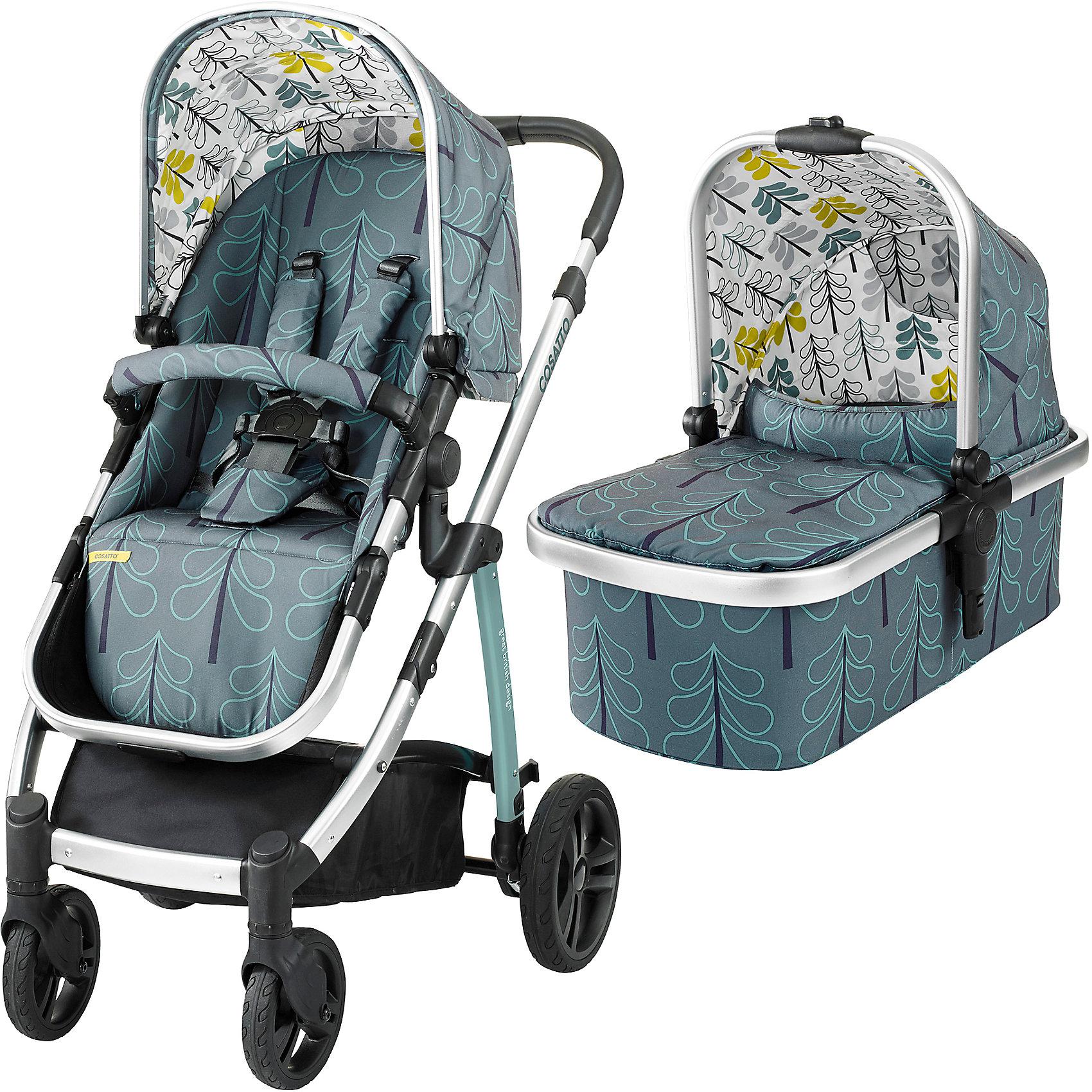Коляска 2 в 1 Cosatto Wow, FjordКоляски 2 в 1<br>Рады представить Вам модульную коляску 2017 года Cosatto WOW. Для прогулок с новорожденным предусмотрена комфортная люлька с теплой накидкой и мягким матрасиком. Для ребенка постарше на шасси устанавливается прогулочное сиденье. Если малыш захочет поспать прямо во время путешествия, сиденье легко можно перевести в специальное положение для отдыха.<br><br>Коляской легко и приятно управлять благодаря вращающимся передним колесам, а амортизация обеспечивает плавный ход на любой местности.<br><br>Характеристики:<br><br>    Для детей с рождения (люлька) до 4 лет (прогулочный блок), весом до 15 кг<br>    Комфортное сиденье может быть установлено лицом к маме либо по ходу движения<br>    Капюшон с выдвижным солнцезащитным козырьком<br>    Петли для игрушек, расположенные на капюшоне<br>    5-точечные ремни безопасности с мягкими накладками<br>    Съемный бампер-ограничитель, обитый тканью<br>    Телескопическая ручка с обивкой из кожзаменителя, регулируется по высоте<br>    Резиновые колеса повышенной проходимости<br>    Передние колеса - поворотные, оснащены фиксаторами<br>    Амортизация на всех колесах<br>    Легкая алюминиевая рама<br>    Большая корзина для покупок с удобными отделениями<br>    Возможность установки на шасси коляски автокресла Cosatto Port группы 0+ (приобретается дополнительно)<br>    В комплекте: шасси, люлька, прогулочный блок, дождевик<br><br>Люлька:<br><br>    Для детей с рождения до 6 месяцев<br>    Комфортный матрасик<br>    Съемный моющийся вкладыш<br>    Удобная ручка для переноски<br><br>Размеры:<br><br>Коляска в разложенном виде (Ш х Д х В), см: 58 х 89 х 96-109<br><br>Коляска в сложенном виде (Ш х Д х В), см: 58 х 82 х 31<br><br>Люльки внутри (Ш х Д х В), см: 30 х 67 х 20<br><br>Ширина прогулочного сиденья: 31 см<br><br>Глубина сиденья: 21 см<br><br>Длина спинки сиденья: 47 см<br><br>Длина подножки: 22 см<br><br>Диаметр передних колес: 17 см<br><br>Диаметр задних колес: 23,5 см<br><br>Вес:<b