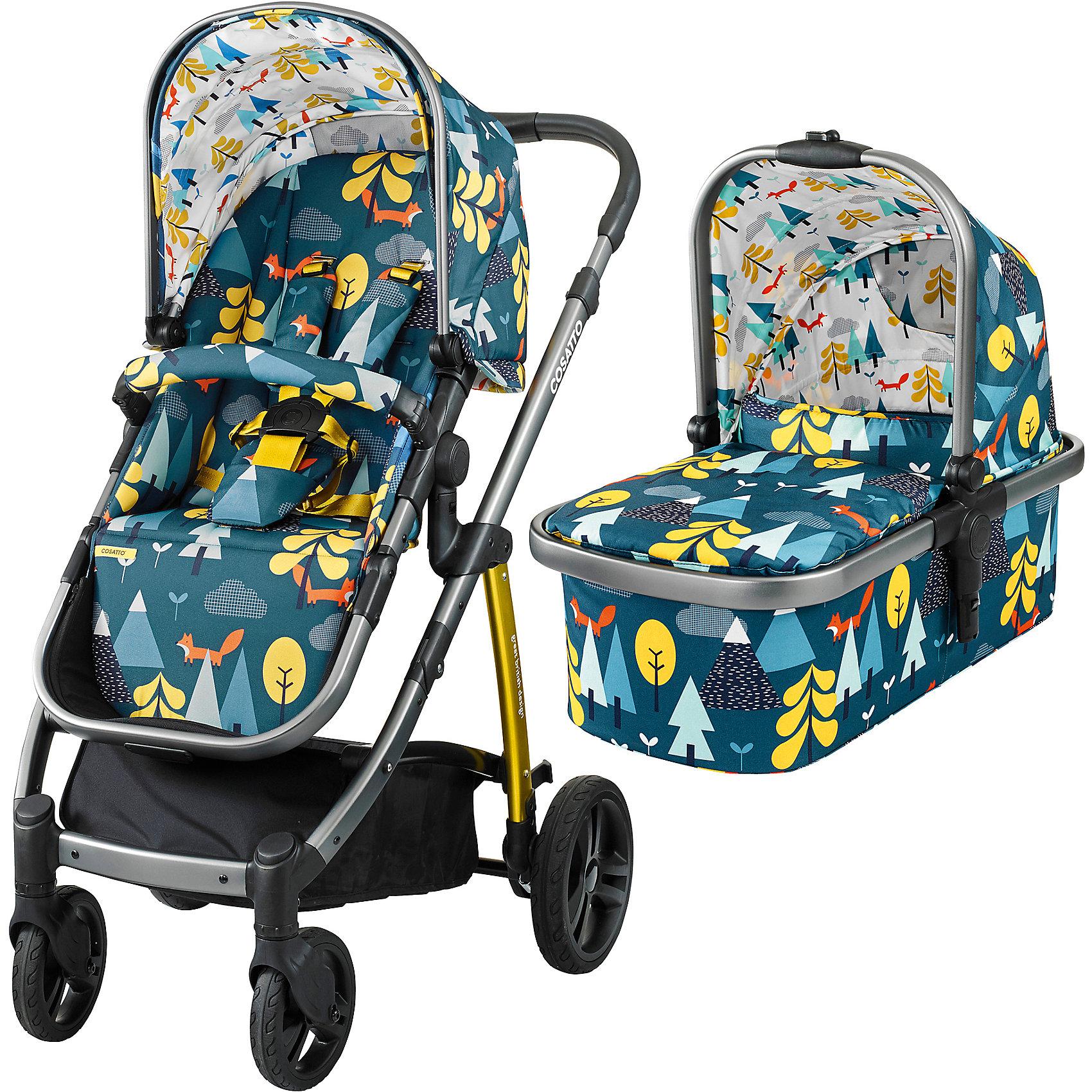 Коляска 2 в 1 Cosatto Wow, Fox TaleКоляски 2 в 1<br>Рады представить Вам модульную коляску 2017 года Cosatto WOW. Для прогулок с новорожденным предусмотрена комфортная люлька с теплой накидкой и мягким матрасиком. Для ребенка постарше на шасси устанавливается прогулочное сиденье. Если малыш захочет поспать прямо во время путешествия, сиденье легко можно перевести в специальное положение для отдыха.<br><br>Коляской легко и приятно управлять благодаря вращающимся передним колесам, а амортизация обеспечивает плавный ход на любой местности.<br><br>Характеристики:<br><br>    Для детей с рождения (люлька) до 4 лет (прогулочный блок), весом до 15 кг<br>    Комфортное сиденье может быть установлено лицом к маме либо по ходу движения<br>    Капюшон с выдвижным солнцезащитным козырьком<br>    Петли для игрушек, расположенные на капюшоне<br>    5-точечные ремни безопасности с мягкими накладками<br>    Съемный бампер-ограничитель, обитый тканью<br>    Телескопическая ручка с обивкой из кожзаменителя, регулируется по высоте<br>    Резиновые колеса повышенной проходимости<br>    Передние колеса - поворотные, оснащены фиксаторами<br>    Амортизация на всех колесах<br>    Легкая алюминиевая рама<br>    Большая корзина для покупок с удобными отделениями<br>    Возможность установки на шасси коляски автокресла Cosatto Port группы 0+ (приобретается дополнительно)<br>    В комплекте: шасси, люлька, прогулочный блок, дождевик<br><br>Люлька:<br><br>    Для детей с рождения до 6 месяцев<br>    Комфортный матрасик<br>    Съемный моющийся вкладыш<br>    Удобная ручка для переноски<br><br>Размеры:<br><br>Коляска в разложенном виде (Ш х Д х В), см: 58 х 89 х 96-109<br><br>Коляска в сложенном виде (Ш х Д х В), см: 58 х 82 х 31<br><br>Люльки внутри (Ш х Д х В), см: 30 х 67 х 20<br><br>Ширина прогулочного сиденья: 31 см<br><br>Глубина сиденья: 21 см<br><br>Длина спинки сиденья: 47 см<br><br>Длина подножки: 22 см<br><br>Диаметр передних колес: 17 см<br><br>Диаметр задних колес: 23,5 см<br><br>Вес