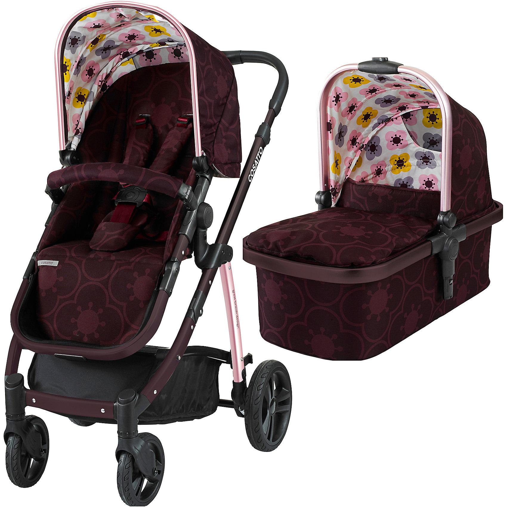 Коляска 2 в 1 Cosatto Wow, PosyКоляски 2 в 1<br>Рады представить Вам модульную коляску 2017 года Cosatto WOW. Для прогулок с новорожденным предусмотрена комфортная люлька с теплой накидкой и мягким матрасиком. Для ребенка постарше на шасси устанавливается прогулочное сиденье. Если малыш захочет поспать прямо во время путешествия, сиденье легко можно перевести в специальное положение для отдыха.<br><br>Коляской легко и приятно управлять благодаря вращающимся передним колесам, а амортизация обеспечивает плавный ход на любой местности.<br><br>Характеристики:<br><br>    Для детей с рождения (люлька) до 4 лет (прогулочный блок), весом до 15 кг<br>    Комфортное сиденье может быть установлено лицом к маме либо по ходу движения<br>    Капюшон с выдвижным солнцезащитным козырьком<br>    Петли для игрушек, расположенные на капюшоне<br>    5-точечные ремни безопасности с мягкими накладками<br>    Съемный бампер-ограничитель, обитый тканью<br>    Телескопическая ручка с обивкой из кожзаменителя, регулируется по высоте<br>    Резиновые колеса повышенной проходимости<br>    Передние колеса - поворотные, оснащены фиксаторами<br>    Амортизация на всех колесах<br>    Легкая алюминиевая рама<br>    Большая корзина для покупок с удобными отделениями<br>    Возможность установки на шасси коляски автокресла Cosatto Port группы 0+ (приобретается дополнительно)<br>    В комплекте: шасси, люлька, прогулочный блок, дождевик<br><br>Люлька:<br><br>    Для детей с рождения до 6 месяцев<br>    Комфортный матрасик<br>    Съемный моющийся вкладыш<br>    Удобная ручка для переноски<br><br>Размеры:<br><br>Коляска в разложенном виде (Ш х Д х В), см: 58 х 89 х 96-109<br><br>Коляска в сложенном виде (Ш х Д х В), см: 58 х 82 х 31<br><br>Люльки внутри (Ш х Д х В), см: 30 х 67 х 20<br><br>Ширина прогулочного сиденья: 31 см<br><br>Глубина сиденья: 21 см<br><br>Длина спинки сиденья: 47 см<br><br>Длина подножки: 22 см<br><br>Диаметр передних колес: 17 см<br><br>Диаметр задних колес: 23,5 см<br><br>Вес:<br