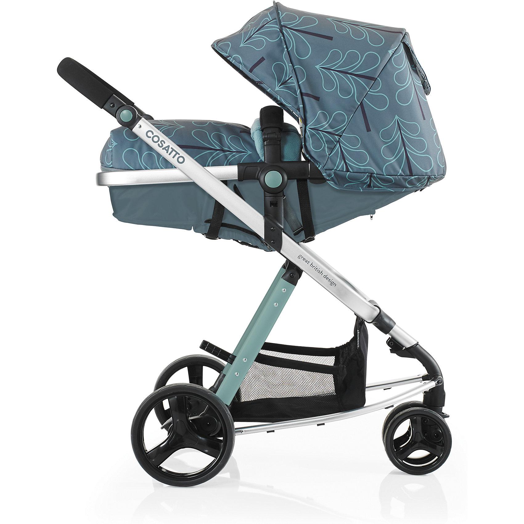 Коляска-трансформер Cosatto Woop, FjordКоляски-трансформеры<br>Характеристики коляски-трансформер<br><br>Люлька:<br><br>• люлька превращается в прогулочный блок и обратно;<br>• люлька используется с рождения до 6-8 месяцев;<br>• допустимая нагрузка: до 9 кг;<br>• капюшон опускается почти до бампера;<br>• капюшон оснащен солнцезащитным козырьком и смотровым окошком под клапаном на магните;<br>• материал: пластик, полиэстер;<br>• внутренние размеры люльки: 80х32х7/14 см.<br><br>Прогулочный блок:<br><br>• реверсивное сиденье, 2 способа установки на шасси;<br>• регулируется угол наклона спинки, 4 положения вплоть до горизонтального;<br>• положение подножки регулируется вместе с сиденьем;<br>• съмный бампер;<br>• система 5-ти точечных ремней безопасности с плечевыми и паховой накладками;<br>• ремни регулируются по длине и высоте;<br>• конверт 4-х сторонний, имеются прорези для ремней безопасности и липучки для крепления;<br>• съемные чехлы прогулочного блока, стирка при температуре 30 градусов;<br>• материал: алюминий, пластик, полиэстер;<br>• ширина сиденья: 32 см;<br>• глубина сиденья: 20 см;<br>• длина спального места: 85,5 см;<br>• вес: 4,1 кг.<br><br>Рама коляски:<br><br>• 3-х колесная коляска, передние сдвоенные поворотные колеса, задние колеса увеличенного диаметра;<br>• ручка коляски регулируется по высоте;<br>• задняя пневматическая подвеска;<br>• ножной тормоз;<br>• корзина для покупок;<br>• тип складывания: книжка;<br>• имеется фиксатор от раскладывания;<br>• на шасси коляски можно установить автокресло группы 0+ Cosatto Hold;<br>• обратите внимание: автокресло приобретается отдельно;<br>• ширина рамы: 62 см;<br>• шасси в сложенном виде: 97х62,5х25 см;<br>• шасси в разложенном виде: 97х62,5х87 см;<br>• высота ручки: 72-100 см;<br>• диаметр колес: 16 см, 23 см;<br>• вес шасси: 6,5 кг.<br><br>Размер коляски: 97х62х100 см<br>Вес в упаковке: 15,5 кг<br><br>Комплектация:<br><br>• прогулочный блок с бампером;<br>• мягкий флисовый подголовник;<br>• конверт с флисовой