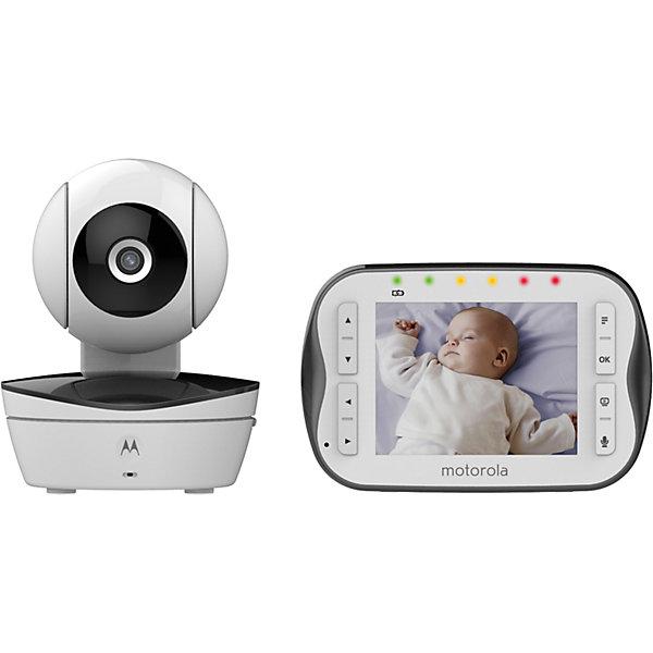 Видеоняня Motorola MBP43S, белыйВидеоняни<br>Характеристики:<br><br>• цифровая видеоняня;<br>• двустронняя связь;<br>• видеонаблюдение за вашим малышом;<br>• родительский блок с цветным дисплеем, диагональ 3,5 дюйма;<br>• радиус действия 300 м;<br>• удаленное изменение положения и угла обзора камеры;<br>• изображение можно увеличить - функция Zoom;<br>• оповещение о низком заряде и о выходе из зоны действия;<br>• светодиодная подсветка в ночное время;<br>• режим ночной съемки;<br>• встроенные колыбельные мелодии - 5 шт.;<br>• регулировка громкости;<br>• встроенный термометр; <br>• индикатор уровня шума;<br>• имеется таймер<br>• подставка для родительского блока;<br>• возможность подключить до 4-х дополнительных камер;<br>• родительский блок работает от сети или от аккумуляторов;<br>• вес в упаковке: 2, 5 кг.<br><br>Технические характеристики:<br><br>Видеокамера видеоняни<br><br>1. Частота передачи: 2.4 ГГц ~ 2,48 ГГц<br>2. Датчик изображения: Цветной CMOS<br>3. Линза: f 2,5mm, F 2,8<br>4. Инфракрасные светодиоды: 8 штук<br>Приемник видеоняни<br>1. Частота передачи: 2.4 ГГц ~ 2,48 ГГц<br>2. Количество каналов: 4<br>3. Дисплей: 3,5 дюйма, 16,7 млн цветов<br>4. Уровни яркости: 8 уровней<br>5. Уровни громкости: 8 уровней<br>6. Аккумулятор: 3.6 V, 900 mAh, никель- металл-гидридные аккумуляторы<br><br>Видеоняню Motorola MBP43S, белый можно купить в нашем интернет-магазине.<br>Ширина мм: 230; Глубина мм: 160; Высота мм: 84; Вес г: 400; Возраст от месяцев: 4; Возраст до месяцев: 36; Пол: Унисекс; Возраст: Детский; SKU: 5445332;