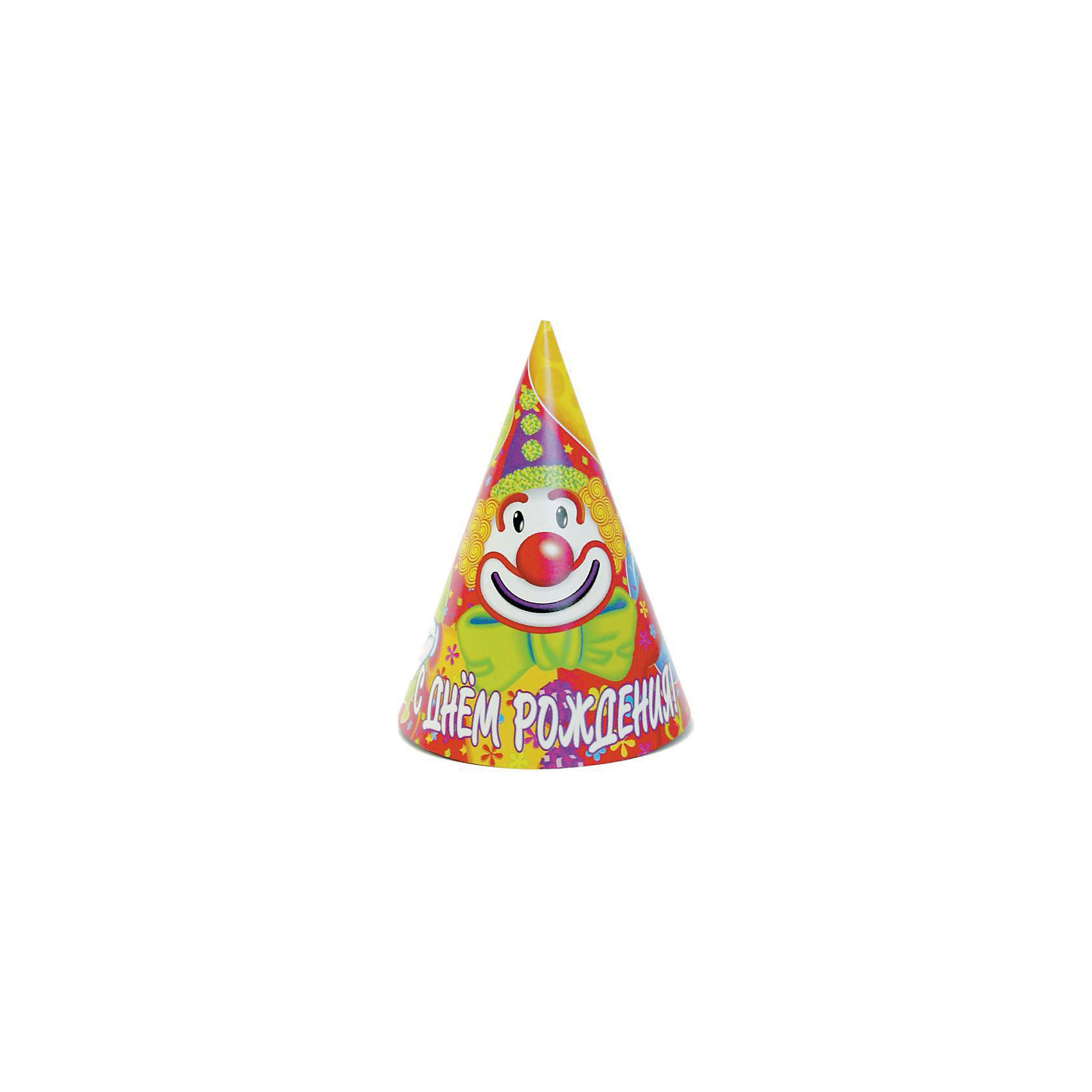 Колпак праздничный С Днем Рождения. Клоун,  8шт., Веселая ЗатеяВсё для праздника<br>Колпак праздничный С Днем Рождения. Клоун, 8шт., Веселая Затея<br><br>Характеристики:<br><br>• Количество: 8 штук<br>• Крепление: шнурок под шеей<br>• Картинка: клоун<br><br>Этот яркий колпак может стать одним из важных атрибутов детского праздника. Он подарит вашему ребенку радость и добавит праздничной атмосферы к обстановке. Его удобно надевать на голову, закрепив эластичный шнур под шеей. Несколько таких колпаков смогут позабавить вашего ребенка и его друзей и добавят веселья.<br><br>Колпак праздничный С Днем Рождения. Клоун, 8шт., Веселая Затея можно купить в нашем интернет-магазине.<br><br>Ширина мм: 200<br>Глубина мм: 300<br>Высота мм: 120<br>Вес г: 60<br>Возраст от месяцев: 36<br>Возраст до месяцев: 2147483647<br>Пол: Унисекс<br>Возраст: Детский<br>SKU: 5445421