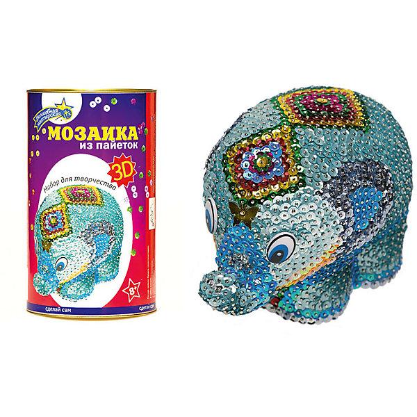 Мозаика из пайеток 3D Слон, Волшебная мастерскаяМозаика детская<br>Мозаика из пайеток 3D Слон, Волшебная мастерская <br><br>Характеристики: <br><br>• Возраст: от 8 лет<br>• Материал: пенопласт, пластик<br>• В комплекте: заготовка, гвоздики, пайетки<br>• Вес: 550г<br>• Размер коробки: 120х210х120мм<br><br>В этом наборе содержится не просто мозаика, но и объемная игрушка, которую необходимо украсить разноцветными яркими пайетками. Игрушечный слоник, изготовленный из пенопласта (для удобного закрепления украшений) и набор ярких пайеток для его декорирования подарят вашему ребенку много радости и дадут проявить воображение. <br><br>Пайетки необходимо прикреплять к фигурке при помощи специальных гвоздиков, потому этот набор рекомендуется для использования детьми от 8 лет.<br><br>Мозаику из пайеток 3D Слон, Волшебная мастерская можно купить в нашем интернет-магазине.<br>Ширина мм: 120; Глубина мм: 210; Высота мм: 120; Вес г: 550; Возраст от месяцев: 36; Возраст до месяцев: 2147483647; Пол: Женский; Возраст: Детский; SKU: 5445430;