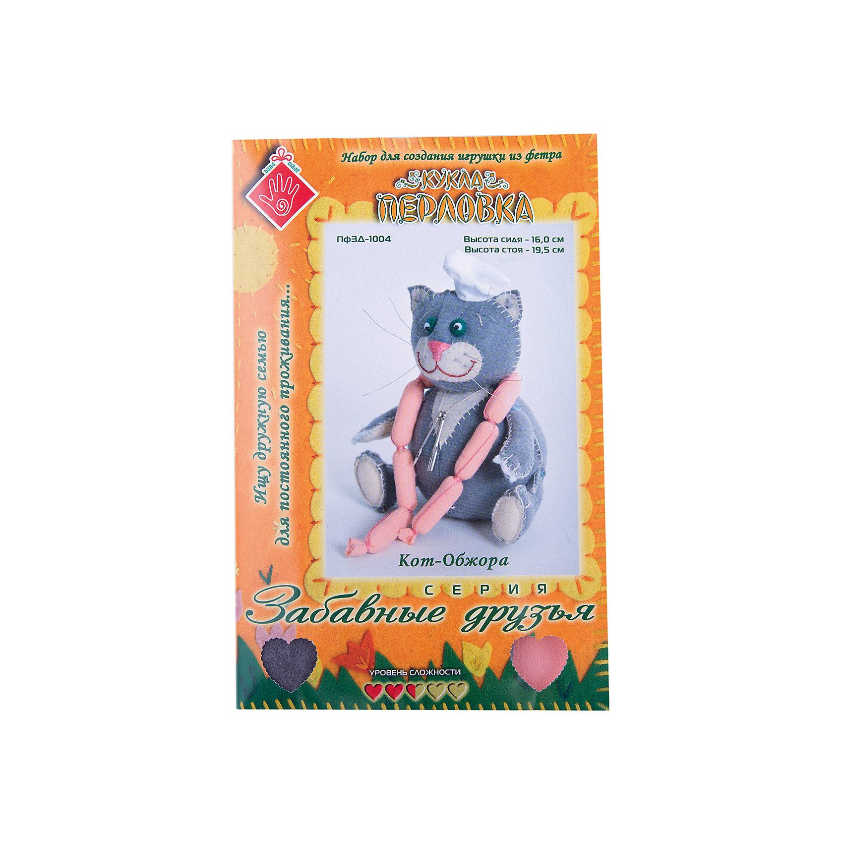 Набор для изготовления  игрушки Кот Обжора, ПерловкаРукоделие<br>Набор для изготовления игрушки Кот Обжора, Перловка<br><br>Характеристики: <br><br>• Размер игрушки: сидя – 16 см, стоя – 19,5 см<br>• Материал: Хлопок, Фетр, Металл, Атлас<br>• Вес: 150г<br><br>Этот набор для творчества позволит вашему ребенку создать очаровательную игрушку. Ткани в комплекте выполнены в мягких пастельных тонах и состоят из натурального хлопка. В составе имеется подробная инструкция и все необходимое для декорирования фигурки. <br><br>Особенностями данного комплекта являются входящие в состав травы лаванды, шалфея и душицы – эти натуральные компоненты действуют умиротворяюще и успокаивают. <br><br>Набор для изготовления игрушки Кот Обжора, Перловка можно купить в нашем интернет-магазине.<br><br>Ширина мм: 150<br>Глубина мм: 10<br>Высота мм: 275<br>Вес г: 80<br>Возраст от месяцев: 60<br>Возраст до месяцев: 2147483647<br>Пол: Женский<br>Возраст: Детский<br>SKU: 5445433