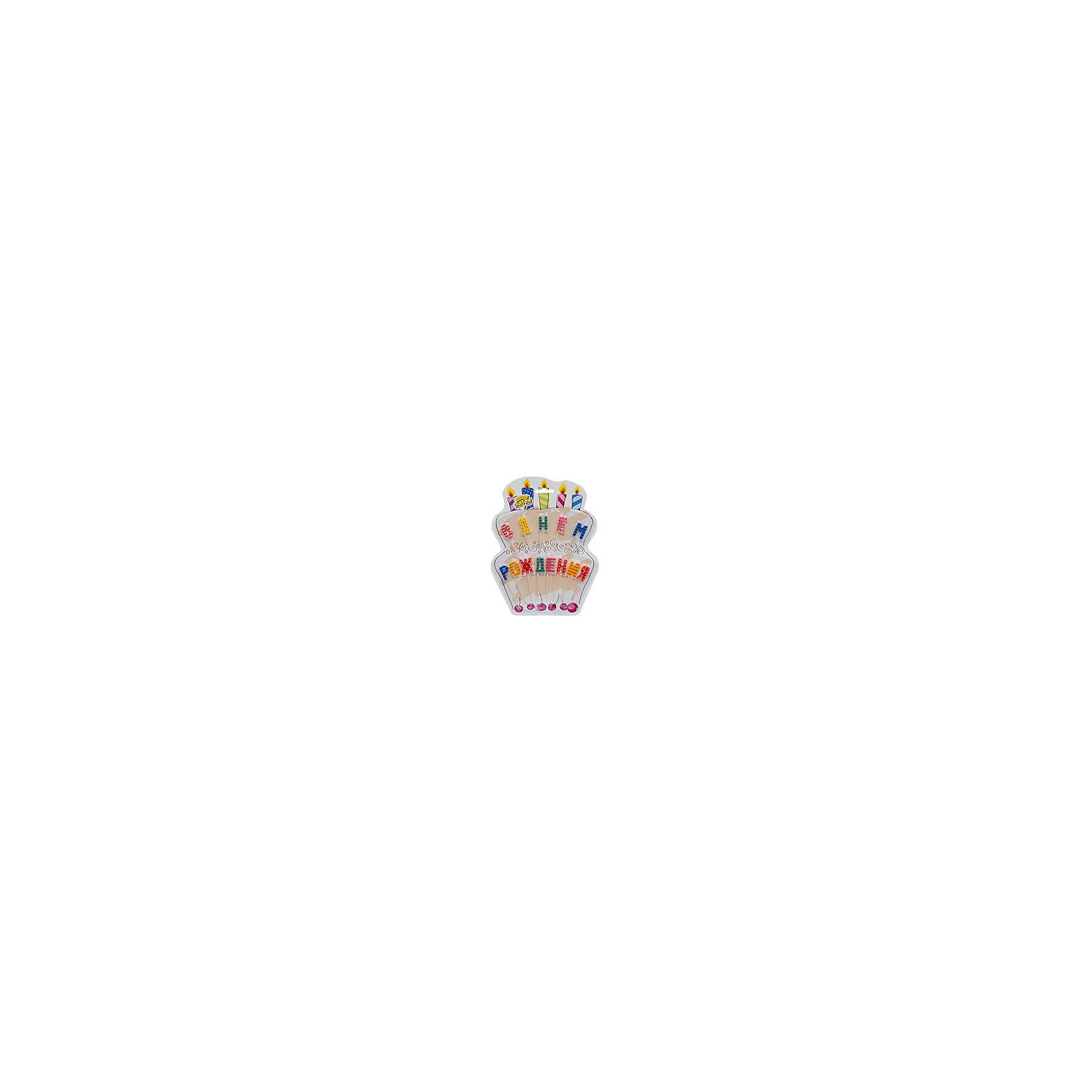 Свечи для торта на пиках С Днем Рождения, Веселая ЗатеяВсё для праздника<br>Свечи для торта на пиках С Днем Рождения, Веселая Затея<br><br>Характеристики: <br><br>• Вес: 100гр<br>• Размер: 180х1х220<br><br>Свечи для торта давно стали традиционным атрибутом праздников и дней рождений, как для детей, так и для взрослых. Декоративные свечи из этого набора выполнены в виде разноцветных букв и составляются в поздравление «С Днем Рождения». Они имеют оригинальный дизайн и помогут создать праздничную атмосферу, украсить именинный торт и порадовать вашего ребенка.<br><br>Свечи для торта на пиках С Днем Рождения, Веселая Затея можно купить в нашем интернет-магазине.<br><br>Ширина мм: 180<br>Глубина мм: 1<br>Высота мм: 220<br>Вес г: 100<br>Возраст от месяцев: 60<br>Возраст до месяцев: 2147483647<br>Пол: Унисекс<br>Возраст: Детский<br>SKU: 5445454
