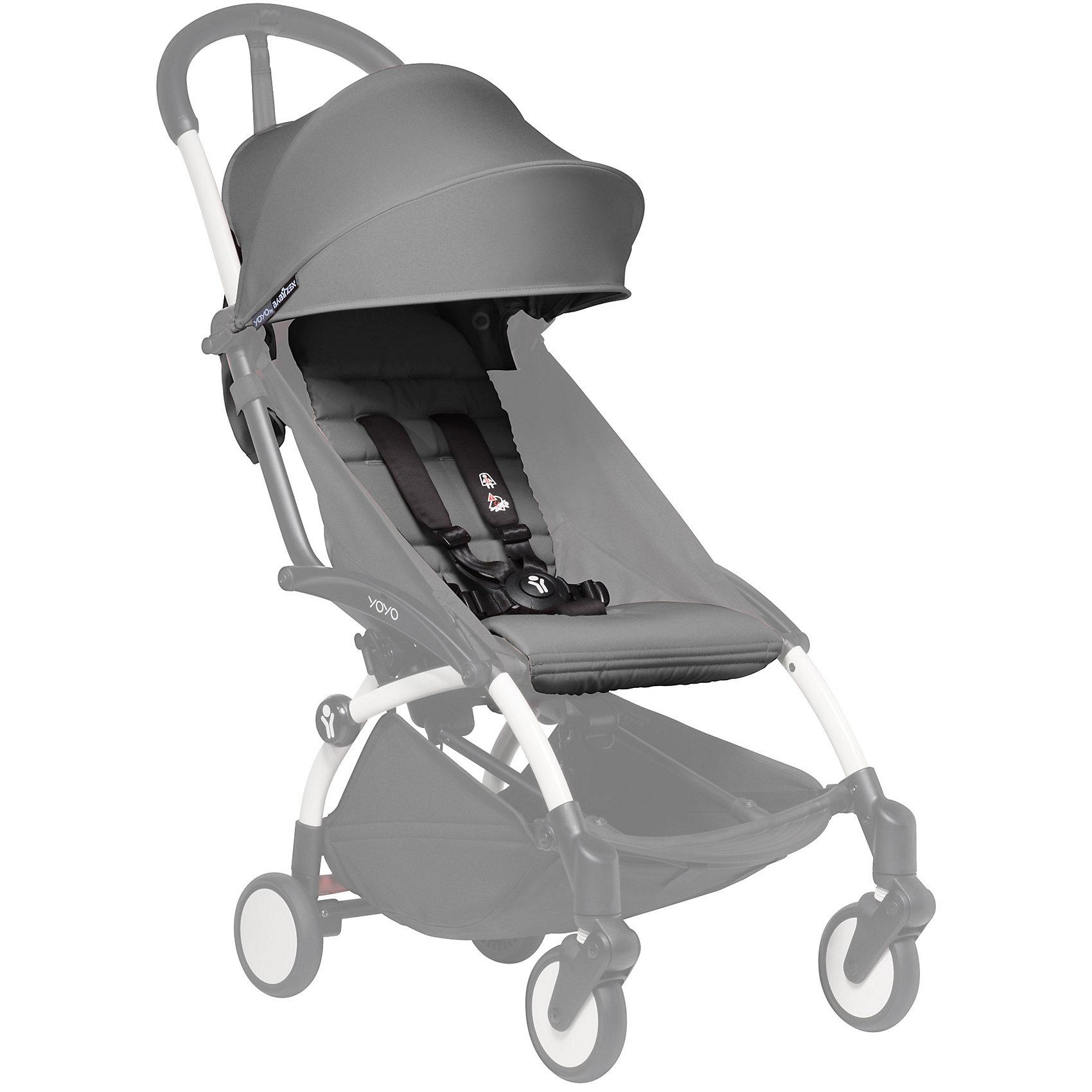 Капюшон и сиденье 6+ для YOYO+, Babyzen, серыйПрогулочные коляски<br>Капюшон и сиденье 6+ для YOYO+, Babyzen (Бебизен), серый<br><br>Характеристики:<br>• вы можете быстро изменить стиль своей коляски YOYO+<br>• установка занимает меньше 15 минут<br>• карман для мамы на капюшоне<br>• водоотталкивающий материал<br>• защита от солнца UV 50+<br>• подходит для коляски Babyzen YOYO+<br>• в комплекте: матрасик-сидение, капюшон<br>• цвет: серый<br>• коллекция: 2017<br><br>Для того, чтобы коляска вашего малыша была самой стильной, достаточно выбрать подходящий цвет. Капюшон и сиденье серого цвета отлично подойдет для мальчиков и девочек. С ними Babyzen YOYO+ превратится в настоящий спортивный экипаж! Установка комплекта не займет у вас много времени. <br><br>Комплект выполнен из водоотталкивающего материала, что особенно удобно в непогоду. На капюшоне есть небольшой карман, в который вы сможете положить игрушку малыша или необходимые принадлежности. Капюшон оснащен козырьком с защитой от солнца UV 50+. Комплект подходит для детей старше 6 месяцев. Создайте свою стильную коляску Babyzen YOYO+!<br><br>Внимание!!!  Внимание!!! Аксессуары на фото показаны в готовом виде на базе (раме), которая продается отдельно.<br><br>Капюшон и сиденье 6+ для YOYO+, Babyzen (Бебизен), серый вы можете купить в нашем интернет-магазине.<br><br>Ширина мм: 650<br>Глубина мм: 10<br>Высота мм: 10<br>Вес г: 730<br>Возраст от месяцев: 6<br>Возраст до месяцев: 36<br>Пол: Унисекс<br>Возраст: Детский<br>SKU: 5445683