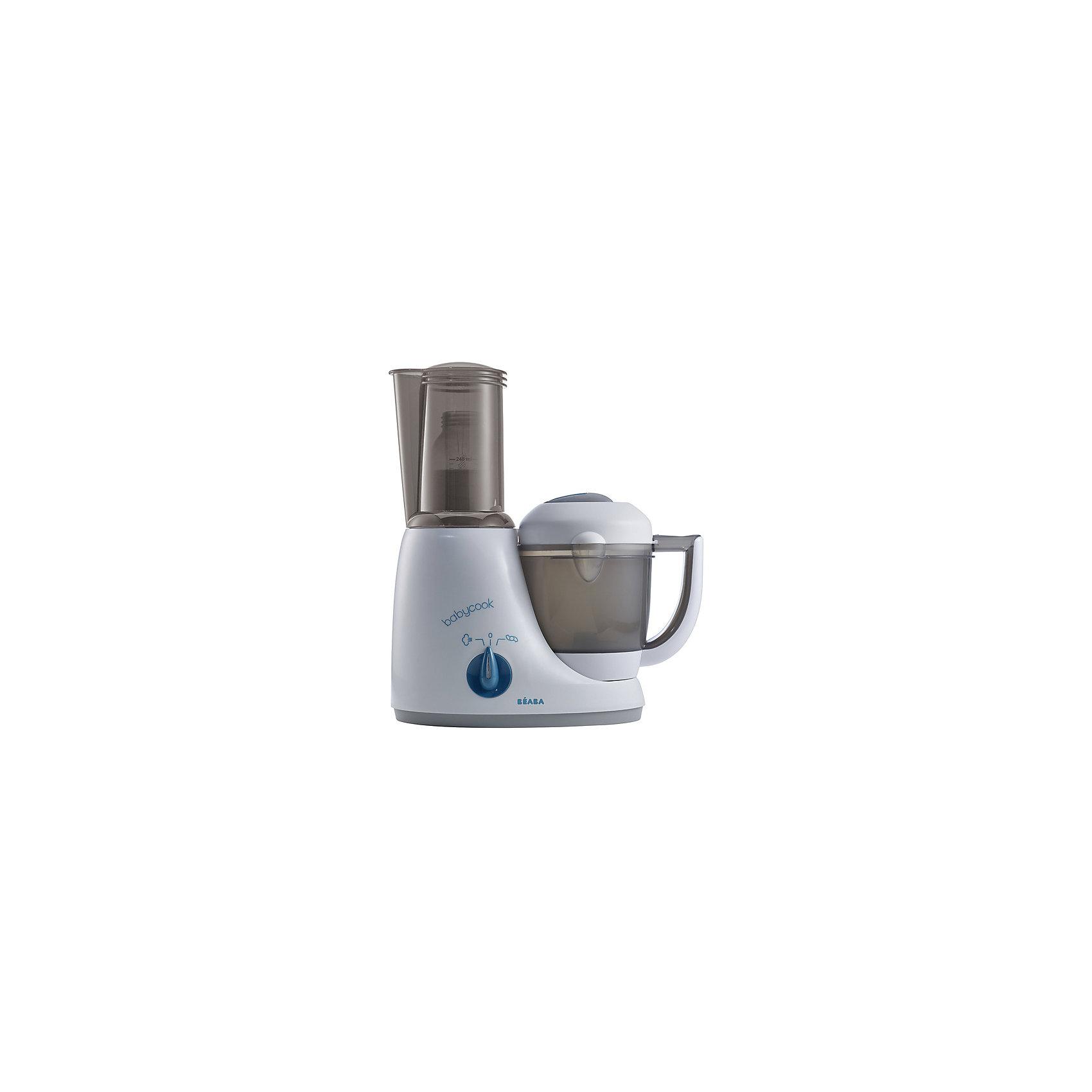 Блендер-пароварка Babycook Original Plus с адаптером, серо-голубойБлендер-пароварка Babycook Original Plus с адаптером, серо-голубой, Beaba (Беаба)<br><br>Характеристики: <br><br>• измельчает пищу, готовит на пару, размораживает и подогревает<br>• можно использовать как стерилизатор для бутылочек<br>• после варки можно отделить бульон для приготовления пюре<br>• готовит за 15 минут, сохраняя все витамины<br>• автоматическое отключение<br>• встроенный дозатор воды<br>• в комплекте: блендер-пароварка, крышка для перемешивания, лопатка, книга рецептов<br>• материал: пластик<br>• объем: 600 мл<br>• вес: 2400 грамм<br><br>Блендер-пароварка Babycook Original Plus - универсальный помощник для любой хозяйки. Он готовит любые продукты на пару за 10-20 минут, измельчает пищу, размораживает и подогревает продукты. Съемная приставка позволяет использовать его в качестве стерилизатора для детских бутылочек. При приготовлении пищи на пару все витамины и полезные элементы сохраняются в еде. Встроенный дозатор поможет вам отмерить необходимое количество воды для приготовления. Техника оснащена функцией автоматического отключения, чтобы вы имогли играть с ребенком, не отвлекаясь на процесс приготовления.<br><br>Блендер-пароварку Babycook Original Plus с адаптером, серо-голубой, Beaba (Беаба) можно купить в нашем интернет-магазине.<br><br>Ширина мм: 270<br>Глубина мм: 136<br>Высота мм: 325<br>Вес г: 2180<br>Возраст от месяцев: 4<br>Возраст до месяцев: 2147483647<br>Пол: Унисекс<br>Возраст: Детский<br>SKU: 5445704