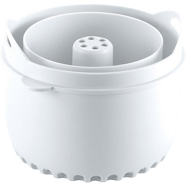 Контейнер для варки круп BBK Original, Beaba, белыйЕмкость для хранения продуктов<br>Контейнер для варки круп BBK Original, Beaba (Беаба), белый<br><br>Характеристики:<br><br>• поможет сварить крупу, макароны и бобовые без постоянного присмотра<br>• подходит для Babycook ORIGINAL/ORIGINAL+<br>• высота: 8 см<br>• диаметр: 11 см<br>• материал: пластик<br>• размер упаковки: 12х12х9 см<br>• вес: 200 грамм<br><br>Контейнер BBK Original пригодится для варки круп, макаронных изделий и бобовых в пароварке Babycook Original/Original+ от Beaba. Пользоваться контейнером очень просто: насыпьте в центральную часть продукт, залейте водой, вставьте в чашу блендера-пароварки и установите нужный режим. Через некоторое время питание будет готово, в то время как вы можете спокойно заниматься своими делами. <br><br>Контейнер для варки круп BBK Original, Beaba (Беаба), белый вы можете купить в нашем интернет-магазине.<br><br>Ширина мм: 125<br>Глубина мм: 117<br>Высота мм: 92<br>Вес г: 160<br>Возраст от месяцев: 4<br>Возраст до месяцев: 2147483647<br>Пол: Унисекс<br>Возраст: Детский<br>SKU: 5445706