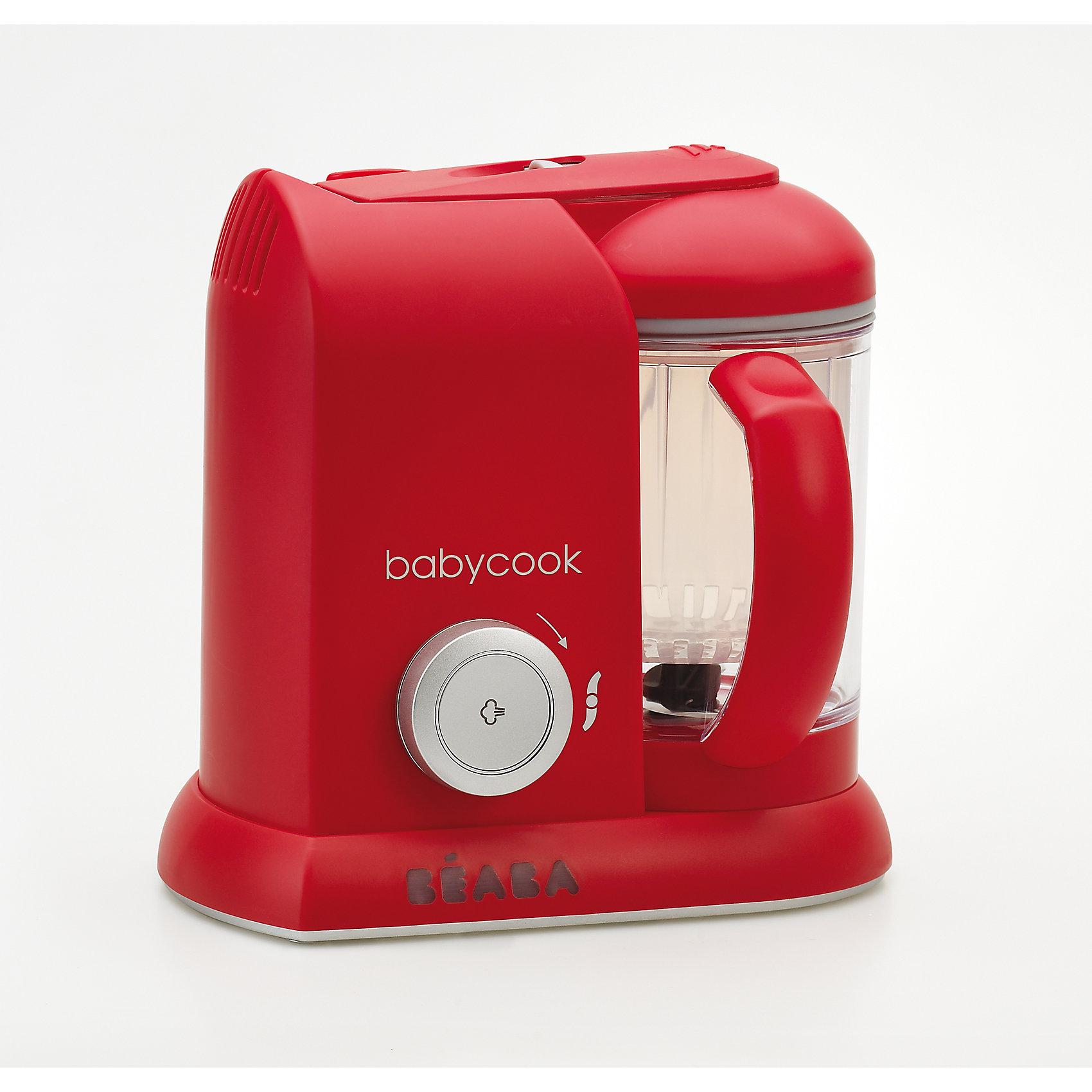 Блендер-пароварка Babycook, Beaba, SOLO REDДетская бытовая техника<br>Блендер-пароварка Babycook, Beaba (Беаба), SOLO RED<br><br>Характеристики:<br><br>• готовит на пару, измельчает готовые продукты, размораживает и подогревает<br>• готовит мясо, овощи и другие продукты за 15 минут<br>• крышка легко открывается и закрывается<br>• автоматическое отключение<br>• звуковой сигнал<br>• экран с подсветкой<br>• легкая и компактная<br>• объем кувшина: 1100 мл<br>• управление: механическое<br>• в комплекте: нож для измельчения, лопатка, паровая корзина, крышка чаши с фильтром для фруктовых коктейлей, книга с рецептами для малышей<br>• материал: пластик, металл<br>• размер: 27,5х19х25 см<br>• вес: 2200 грамм<br>• размер упаковки: 28х25х20 см<br>• цвет: красный<br><br>Блендер-пароварка Babycook - прекрасный помощник для мам. Он совмещает 4 важных функции: приготовление на пару, измельчение и приготовление пюре, размораживание и подогрев. Вы всегда будете знать, какие продукты входят в еду ребенка и сможете самостоятельно выбрать нужную консистенцию. Блендер-пароварка оснащена экраном с подсветкой, звуковым сигналом при окончании приготовления и автоматическим отключением. <br><br>Процесс приготовления на пару занимает не более 20 минут. Специальный механизм позволит вам открыть и закрыть крышку кувшина одной рукой. Пароварка очень легкая и компактная - она не займет много места на кухне. В комплект входит книга с рецептами для малышей от 6 месяцев до двух лет.<br><br>Блендер-пароварку Babycook, Beaba (Беаба), SOLO RED можно купить в нашем интернет-магазине.<br><br>Ширина мм: 240<br>Глубина мм: 180<br>Высота мм: 240<br>Вес г: 2400<br>Возраст от месяцев: 4<br>Возраст до месяцев: 2147483647<br>Пол: Унисекс<br>Возраст: Детский<br>SKU: 5445708