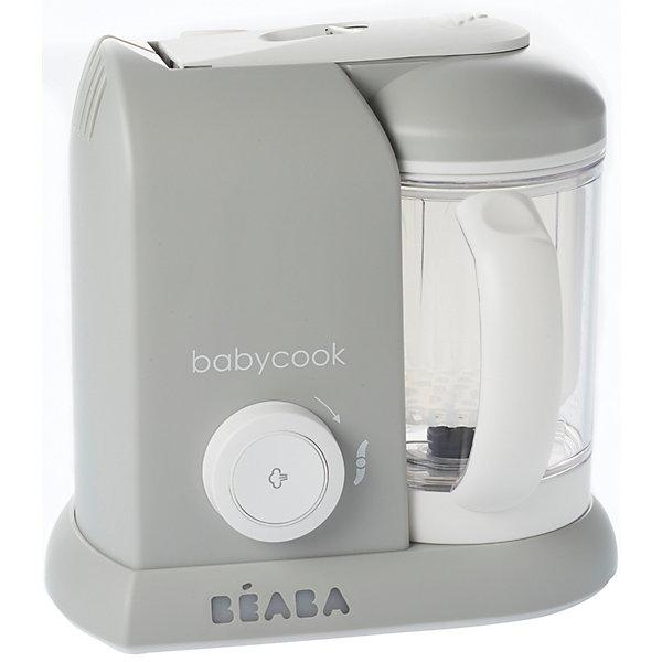 Блендер-пароварка Babycook, Beaba, GREY EUКухонная утварь<br>Блендер-пароварка Babycook, Beaba (Беаба), GREY EU<br><br>Характеристики:<br><br>• готовит на пару, измельчает готовые продукты, размораживает и подогревает<br>• готовит мясо, овощи и другие продукты за 15 минут<br>• крышка легко открывается и закрывается<br>• автоматическое отключение<br>• звуковой сигнал<br>• экран с подсветкой<br>• легкая и компактная<br>• объем кувшина: 1100 мл<br>• управление: механическое<br>• в комплекте: нож для измельчения, лопатка, паровая корзина, крышка чаши с фильтром для фруктовых коктейлей, книга с рецептами для малышей<br>• материал: пластик, металл<br>• размер: 27,5х19х25 см<br>• вес: 2200 грамм<br>• размер упаковки: 28х25х20 см<br>• цвет: серый<br><br>Блендер-пароварка Babycook - прекрасный помощник для мам. Он совмещает 4 важных функции: приготовление на пару, измельчение и приготовление пюре, размораживание и подогрев. Вы всегда будете знать, какие продукты входят в еду ребенка и сможете самостоятельно выбрать нужную консистенцию. Блендер-пароварка оснащена экраном с подсветкой, звуковым сигналом при окончании приготовления и автоматическим отключением. <br><br>Процесс приготовления на пару занимает не более 20 минут. Специальный механизм позволит вам открыть и закрыть крышку кувшина одной рукой. Пароварка очень легкая и компактная - она не займет много места на кухне. В комплект входит книга с рецептами для малышей от 6 месяцев до двух лет.<br><br>Блендер-пароварка Babycook, Beaba (Беаба), GREY EU можно купить в нашем интернет-магазине.<br><br>Ширина мм: 240<br>Глубина мм: 180<br>Высота мм: 240<br>Вес г: 2400<br>Возраст от месяцев: 4<br>Возраст до месяцев: 2147483647<br>Пол: Унисекс<br>Возраст: Детский<br>SKU: 5445709