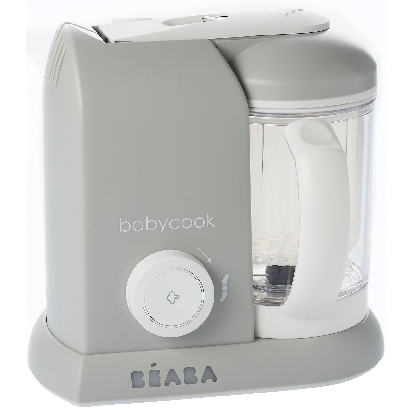 Блендер-пароварка Babycook, Beaba, GREY EUДетская бытовая техника<br>Блендер-пароварка Babycook, Beaba (Беаба), GREY EU<br><br>Характеристики:<br><br>• готовит на пару, измельчает готовые продукты, размораживает и подогревает<br>• готовит мясо, овощи и другие продукты за 15 минут<br>• крышка легко открывается и закрывается<br>• автоматическое отключение<br>• звуковой сигнал<br>• экран с подсветкой<br>• легкая и компактная<br>• объем кувшина: 1100 мл<br>• управление: механическое<br>• в комплекте: нож для измельчения, лопатка, паровая корзина, крышка чаши с фильтром для фруктовых коктейлей, книга с рецептами для малышей<br>• материал: пластик, металл<br>• размер: 27,5х19х25 см<br>• вес: 2200 грамм<br>• размер упаковки: 28х25х20 см<br>• цвет: серый<br><br>Блендер-пароварка Babycook - прекрасный помощник для мам. Он совмещает 4 важных функции: приготовление на пару, измельчение и приготовление пюре, размораживание и подогрев. Вы всегда будете знать, какие продукты входят в еду ребенка и сможете самостоятельно выбрать нужную консистенцию. Блендер-пароварка оснащена экраном с подсветкой, звуковым сигналом при окончании приготовления и автоматическим отключением. <br><br>Процесс приготовления на пару занимает не более 20 минут. Специальный механизм позволит вам открыть и закрыть крышку кувшина одной рукой. Пароварка очень легкая и компактная - она не займет много места на кухне. В комплект входит книга с рецептами для малышей от 6 месяцев до двух лет.<br><br>Блендер-пароварка Babycook, Beaba (Беаба), GREY EU можно купить в нашем интернет-магазине.<br><br>Ширина мм: 240<br>Глубина мм: 180<br>Высота мм: 240<br>Вес г: 2400<br>Возраст от месяцев: 4<br>Возраст до месяцев: 2147483647<br>Пол: Унисекс<br>Возраст: Детский<br>SKU: 5445709