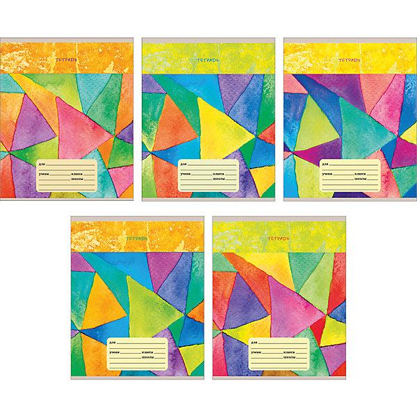 Комплект тетрадей Мир красок (10 шт), 24 листа, Канц-ЭксмоБумажная продукция<br>Характеристики комплекта тетрадей Мир красок:<br><br>• размеры: 20.2х16.3х3.5 см<br>• количество листов: 24 шт.<br>• разлиновка: линейка<br>• формат: А 5 <br>• комплектация: тетрадь<br>• бумага: офсет, плотностью 60 г/м2.<br>• обложка: мелованный картон, выборочный лак.<br>• бренд: Канц-Эксмо<br>• страна бренда: Россия<br>• страна производителя: Россия<br><br>Комплект тетрадей Мир красок от российского производителя Канц-Эксмо выполнен в формате А5. На обложке тетрадей нанесен яркий орнамент . Количество листов 24, тетради в линейку с полями. Крепление: скрепка. Обложка у изделий плотная - мелованный картон, выборочный лак.<br><br>Комплект тетрадей Мир красок от российского производителя Канц-Эксмо можно купить в нашем интернет-магазине.<br><br>Ширина мм: 202<br>Глубина мм: 163<br>Высота мм: 40<br>Вес г: 66<br>Возраст от месяцев: 72<br>Возраст до месяцев: 2147483647<br>Пол: Унисекс<br>Возраст: Детский<br>SKU: 5448405