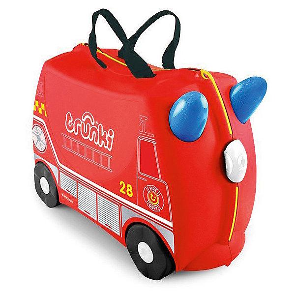 Чемодан на колесиках Фрэнк пожарный, TRUNKIЧемоданы и дорожные сумки<br>Характеристики чемодан на колесиках Фрэнк пожарный:<br><br>• возраст: от 3 лет<br>• пол: для мальчиков<br>• цвет: красный<br>• допустимый вес эксплуатации : 50 кг.<br>• состав: пластик, текстиль.<br>• объем: 18 л.<br>• размер чемодана: 46х21х31 см.<br>• вес: 1.7 кг. <br>• упаковка: картонная коробка.<br>• бренд: Trunki<br>• страна обладатель бренда: Великобритания.<br><br>Чемодан в виде яркой пожарной машинки станет прекрасным игровым спутником каждого маленького путешественника. Чемодан выполнен в ярко-красном цвете, рисунок на нем имитирует внешний вид пожарной машины. Белые и желтые элементы на чемодане делают его более веселым и заметным. У чемоданчика есть забавные синие ручки в виде рожек, для того, чтобы ребенок мог держаться во время катания. <br><br>Удобная прочная ручка из текстиля позволяет родителям возить чемодан или катать ребенка. Несмотря на забавный внешний вид, чемодан Транки очень прочен и функционален. Вместительная конструкция весит меньше 2 кг. Выемка в верхней части корпуса служит седлом для юных гонщиков, и мало какой ребёнок откажется от удовольствия прокатиться на таком необычном транспорте. <br><br>Чемодан на колесиках Фрэнк пожарный торговой марки Транки (Trunki) можно купить в нашем интернет-магазине.<br>Ширина мм: 460; Глубина мм: 210; Высота мм: 310; Вес г: 1700; Возраст от месяцев: 36; Возраст до месяцев: 2147483647; Пол: Мужской; Возраст: Детский; SKU: 5448800;