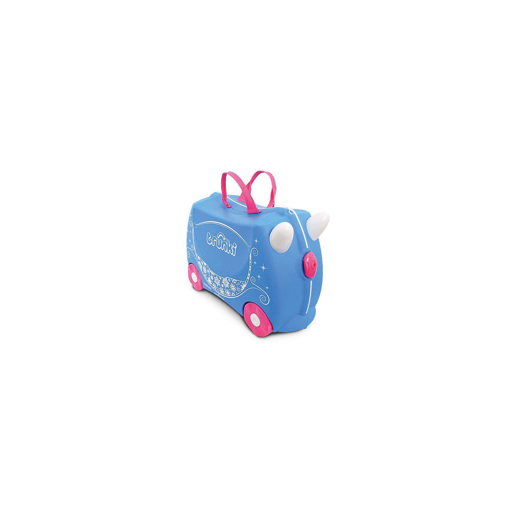 Чемодан на колесиках Жемчужная Карета принцессы, TRUNKIДорожные сумки и чемоданы<br>Характеристики чемодан на колесиках Жемчужная Карета принцессы:<br><br>• возраст: от 3 лет<br>• пол: для девочек<br>• цвет: голубой<br>• допустимый вес эксплуатации : 50 кг.<br>• состав: пластик, текстиль.<br>• объем: 18 л.<br>• размер чемодана: 46х21х31 см.<br>• вес: 1.7 кг. <br>• упаковка: картонная коробка.<br>• бренд: Trunki<br>• страна обладатель бренда: Великобритания.<br><br>Чемодан сделан из прочного пластика, его вместимость составляет 2 кг. Во внутреннем отделении есть ремни, которые закрепляют вещи, совсем как в настоящем взрослом чемодане. В такой чемодан ребенок сам с большим удовольствием будет укладывать вещи и присматривать за ним во время путешествия.<br><br>К тому же большим преимуществом чемоданчика является то, что он выполняет функцию игрушки-каталки. Так, у ребенка будет возможность поиграть во время длительных процедур оформления документов, что поможет малышу быть энергичным и веселым.<br><br>Чемодан на колесиках Жемчужная карета принцессы торговой марки Транки (Trunki) можно купить в нашем интернет-магазине.<br><br>Ширина мм: 460<br>Глубина мм: 210<br>Высота мм: 310<br>Вес г: 1700<br>Возраст от месяцев: 36<br>Возраст до месяцев: 2147483647<br>Пол: Женский<br>Возраст: Детский<br>SKU: 5448801
