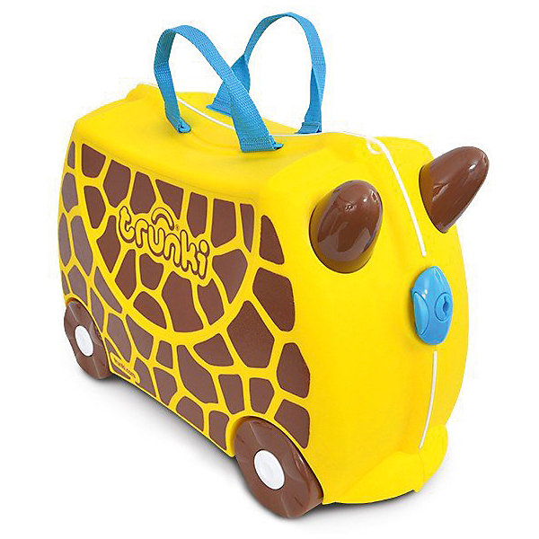 Чемодан на колесиках  Жираф Джери, TRUNKIДорожные сумки и чемоданы<br>Характеристики чемодан на колесиках Жираф Джери:<br><br>• возраст: от 3 лет<br>• пол: универсальный<br>• цвет: желтый и черный <br>• допустимый вес эксплуатации : 50 кг.<br>• состав: пластик, текстиль.<br>• объем: 18 л.<br>• размер чемодана: 46х21х31 см.<br>• вес: 1.7 кг. <br>• упаковка: картонная коробка.<br>• бренд: Trunki<br>• страна обладатель бренда: Великобритания.<br><br>У чемоданчика есть забавные ручки в виде рожек, для того, чтобы ребенок мог держаться во время катания. Удобная прочная ручка из текстиля позволяет родителям возить чемодан или катать ребенка. Несмотря на забавный внешний вид, чемодан Транки очень прочен и функционален. Вместительная конструкция весит меньше 2 кг. Выемка в верхней части корпуса служит седлом для юных гонщиков.<br><br>Чемодан на колесиках Жираф Джери торговой марки Транки (Trunki) можно купить в нашем интернет-магазине.<br><br>Ширина мм: 460<br>Глубина мм: 210<br>Высота мм: 310<br>Вес г: 1700<br>Возраст от месяцев: 36<br>Возраст до месяцев: 2147483647<br>Пол: Унисекс<br>Возраст: Детский<br>SKU: 5448803