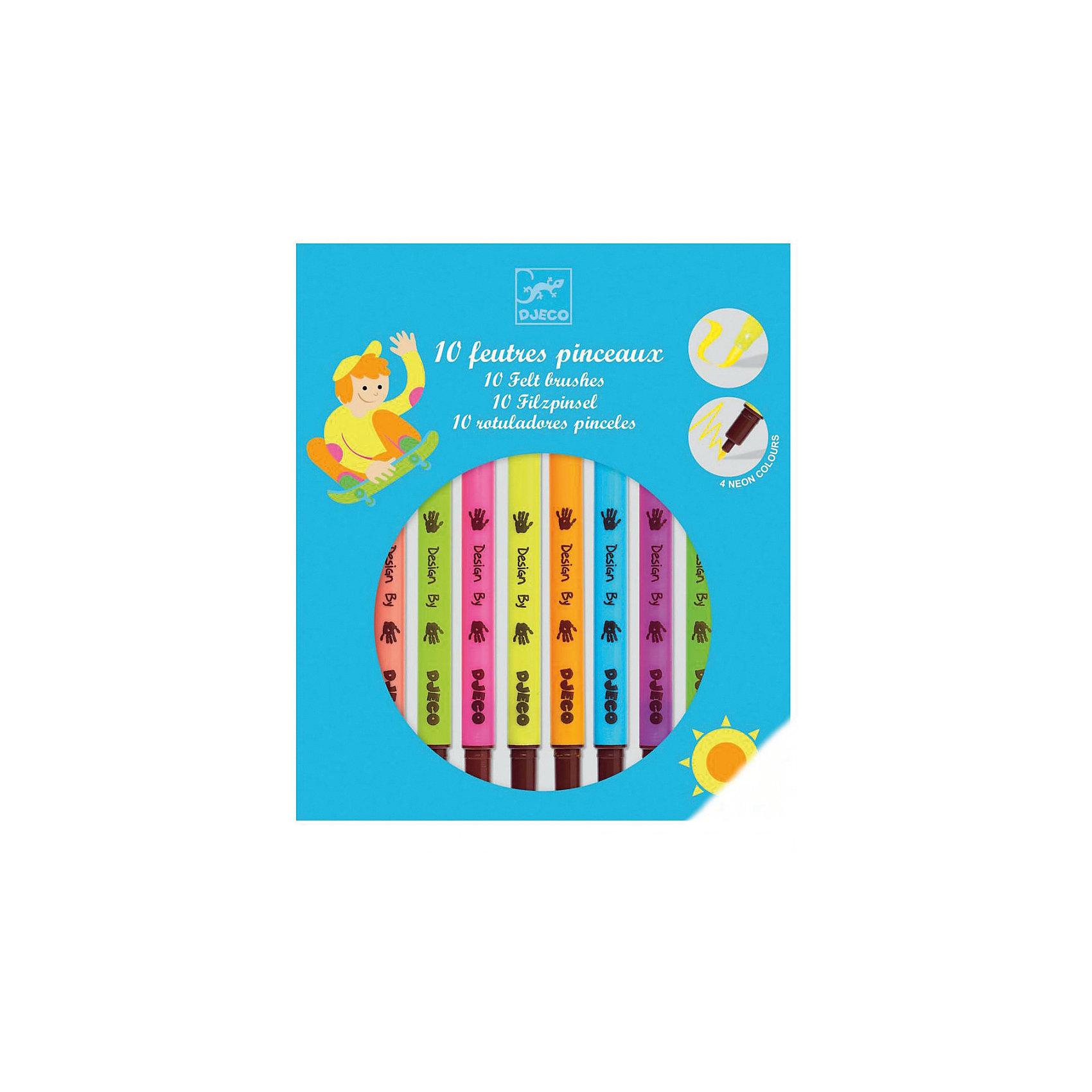 Набор двухсторонних фломастеров, 10 шт., DJECOПисьменные принадлежности<br>Характеристики набора двухсторонних фломастеров:<br><br>• возраст: от 6 лет<br>• пол: универсальный<br>• комплект: 10 фломастеров.<br>• состав: пластик, краситель.<br>• размер упаковки: 19.2 х 16.5 х 1.5 см.<br>• упаковка: картонная коробка блистерного типа.<br>• бренд: Djeco<br>• страна обладатель бренда: Франция.<br><br>Двухсторонние фломастеры от торговой марки Djeco (Джеко) десяти ярких цветов легко наносятся, благодаря им рисунок получается насыщенных и сочных цветов. Такие необычные фломастеры понравятся юному художнику: на одном конце у них тонкий грифель, а на другом - они в виде кисти для более мягкого нанесения. Ребенок может ими раскрашивать, оформлять письменные работы, рисовать и вволю воплощать свою фантазию. <br><br>Набор двухсторонних фломастеров от торговой марки Djeco (Джеко) можно купить в нашем интернет-магазине.<br><br>Ширина мм: 160<br>Глубина мм: 167<br>Высота мм: 190<br>Вес г: 132<br>Возраст от месяцев: 72<br>Возраст до месяцев: 2147483647<br>Пол: Унисекс<br>Возраст: Детский<br>SKU: 5448805