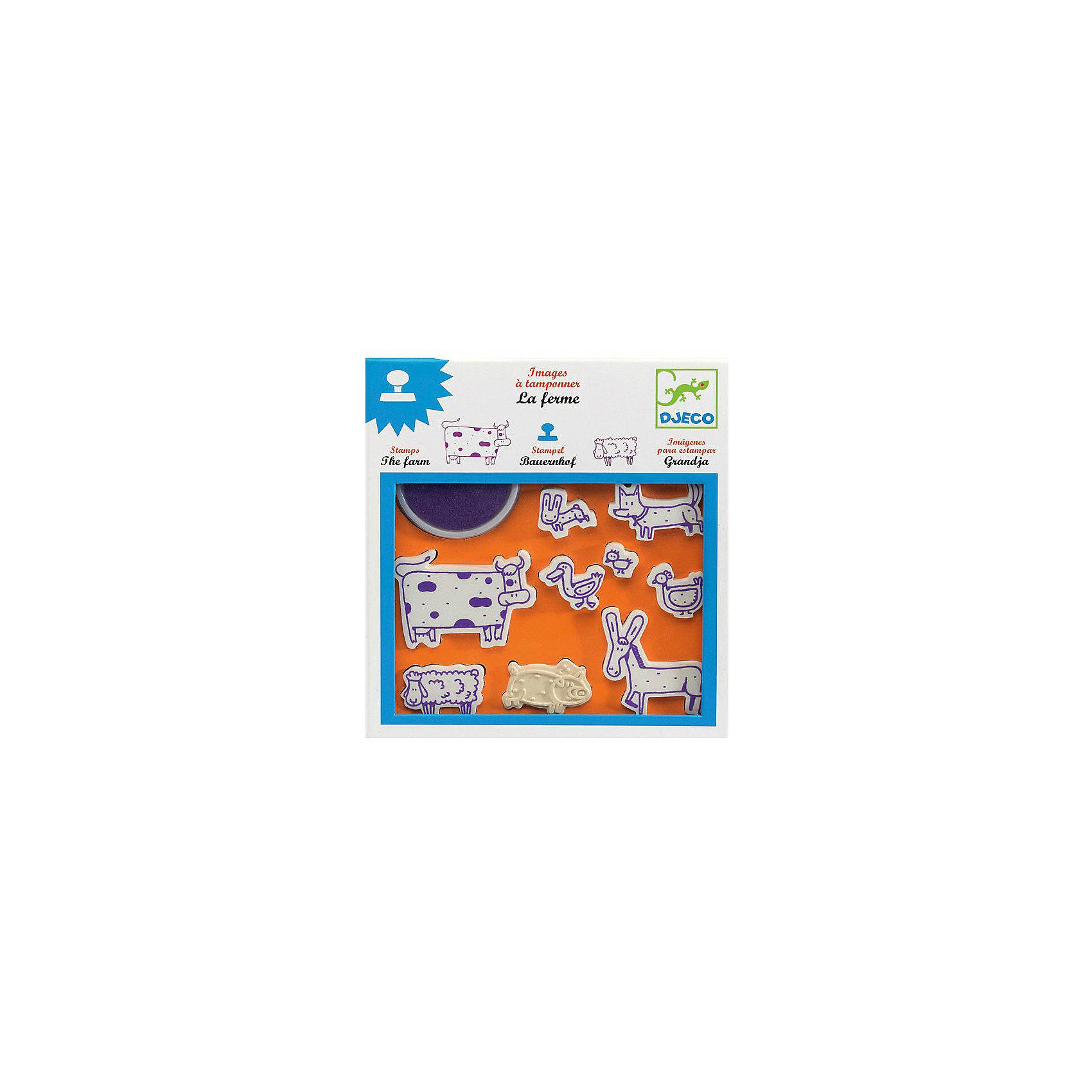 Набор штампов Ферма, DJECOХарактеристики набора штампов Ферма:<br><br>• возраст: от 3 лет<br>• пол: универсальный<br>• комплект: 9 штампов, штемпельная подушечка.<br>• состав: резина, пластик<br>• размер упаковки: 21 х 23 х 2 см.<br>• упаковка: картонная коробка открытого типа.<br>• бренд: Djeco<br>• страна обладатель бренда: Франция.<br><br>Набор штампов Ферма от бренда Djeco содержит 9 клише с изображением разнообразных животных, обитающих на домашнем дворе. Штампы помогут ребенку оригинально украсить любой предмет - блокнот, альбом, тетрадь, открытку или поделку. Оригинальные изображение поросенка, коровы, ослика, собаки, цыпленка и других домашних питомцев сделают процесс штампирования веселым и увлекательным.<br><br>Набор штампов Ферма от торговой марки Djeco (Джеко) можно купить в нашем интернет-магазине.<br><br>Ширина мм: 230<br>Глубина мм: 210<br>Высота мм: 20<br>Вес г: 290<br>Возраст от месяцев: 36<br>Возраст до месяцев: 2147483647<br>Пол: Унисекс<br>Возраст: Детский<br>SKU: 5448807