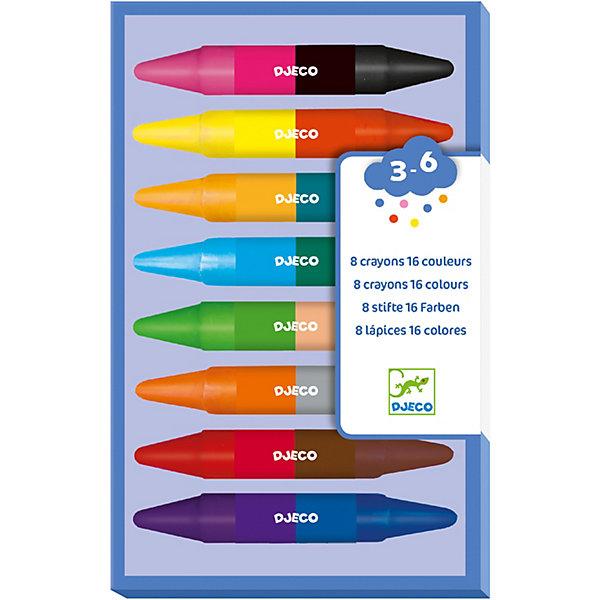 Карандаши двойные (8 шт., 16 цветов), DJECOВосковые<br>Характеристики двойных карандашей (8 шт., 16 цветов):<br><br>• возраст: от 3 лет<br>• пол: универсальный<br>• тип: мел цветной <br>• форма: круглая<br>• материал: восковые мелки<br>• размер упаковки: 18 х 11 х2 см.<br>• упаковка: картонная коробка.<br>• бренд: Djeco<br>• страна обладатель бренда: Франция.<br><br>Набор двойных карандашей, 8 штук (08874) идеален для детишек дошкольного и школьного возраста. Специальный профиль обеспечивает минимальную нагрузку на руку ребенка и развивает мелкую моторику пальцев. <br><br>Мягкие и яркие цвета позволяют делать более красочные рисунки. Малыш будет с удовольствием рисовать на бумаге свои идеи и мечты, а эти карандаши помогут ему. Товары фирмы производителя Djeco отвечает всем Европейским нормам безопасности, о чем свидетельствуют многочисленные знаки качества.<br><br>Карандаши двойные от торговой марки Djeco (Джеко) можно купить в нашем интернет-магазине.<br>Ширина мм: 180; Глубина мм: 11; Высота мм: 20; Вес г: 230; Возраст от месяцев: 36; Возраст до месяцев: 2147483647; Пол: Унисекс; Возраст: Детский; SKU: 5448814;