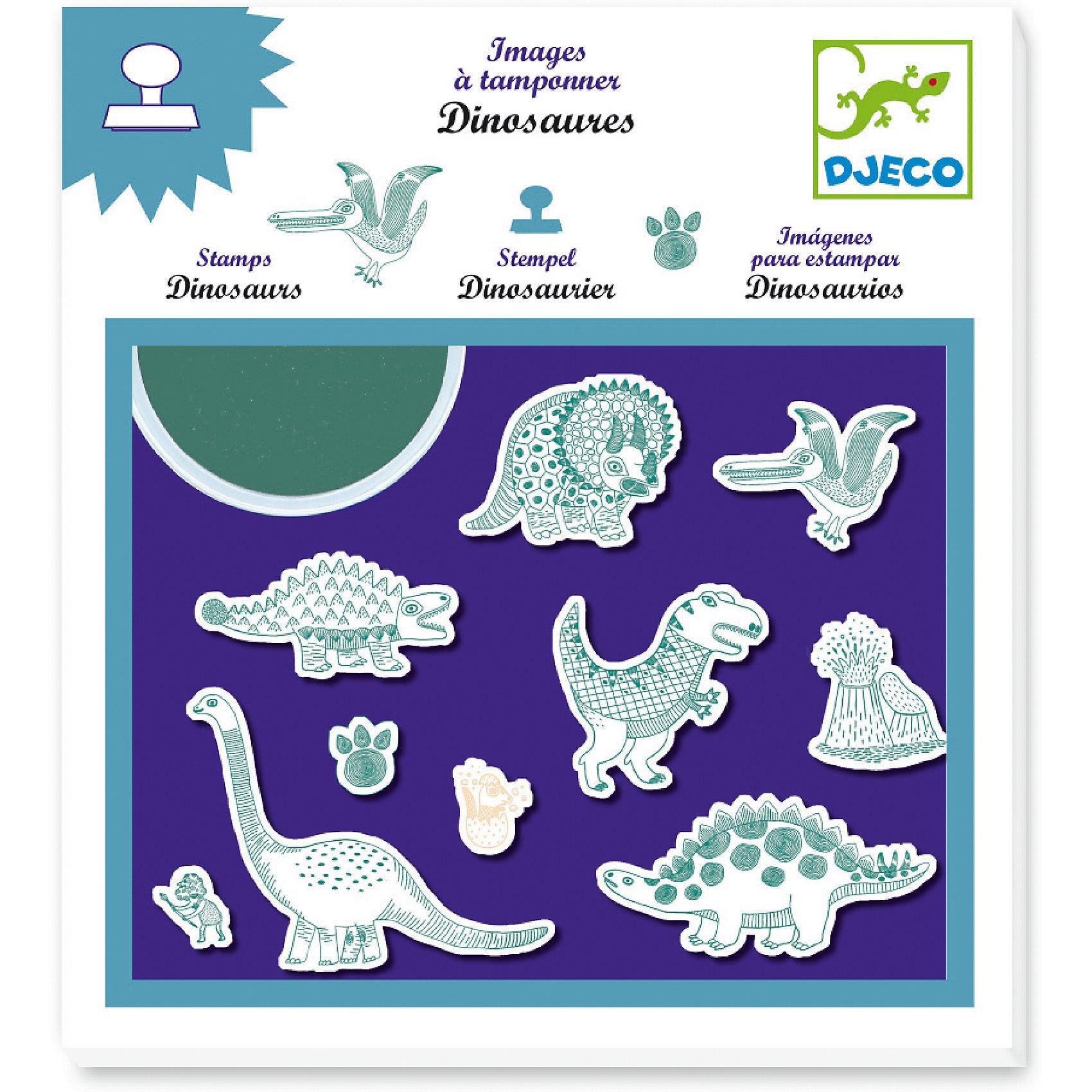 Набор штампов «Динозавры», DJECOРисование<br>Характеристики набора штампов Динозавры:<br><br>• возраст: от 3 лет<br>• пол: универсальный<br>• комплект: 10 штампов, штемпельная подушечка.<br>• состав: пластик, резина<br>• размер упаковки: 21 х 23 х 2 см.<br>• упаковка: картонная коробка блистерного типа.<br>• бренд: Djeco<br>• страна обладатель бренда: Франция.<br><br>Динозавры от компании Djeco - это детский набор штампиков, с которым ребенок проведет немало радостных минут. Использовать штампики очень просто, с этим справятся даже малыши. Для того, чтобы нанести изображение какого-либо динозавра на бумагу, достаточно лишь посильнее придавить штампик к листку бумаги.<br><br>Набор штампов Динозавры от торговой марки Djeco (Джеко) можно купить в нашем интернет-магазине.<br><br>Ширина мм: 230<br>Глубина мм: 210<br>Высота мм: 200<br>Вес г: 300<br>Возраст от месяцев: 48<br>Возраст до месяцев: 2147483647<br>Пол: Унисекс<br>Возраст: Детский<br>SKU: 5448815