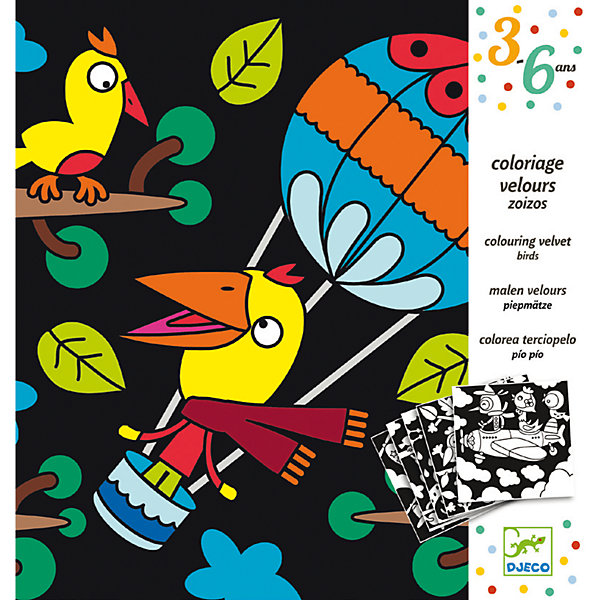 Бархатные раскраски Птицы, DJECOРаскраски для детей<br>Характеристики бархатных раскрасок Птицы:<br><br>• возраст: от 2 лет<br>• пол: универсальный<br>• комплект: 5 листов раскрасок.<br>• состав: бархат, картон.<br>• размер набора: 22 х 23 см.<br>• упаковка: картонная коробка блистерного типа.<br>• бренд: Djeco<br>• страна обладатель бренда: Франция.<br><br>Набор бархатных раскрасок Птицы от компании Djeco – это интересный набор, который может понравиться детям, любящим рисовать.<br>В набор входит пять картонных листов с нанесенными на них рисунками – они изображают разнообразных веселых птичек. Фон рисунка – бархатная бумага, которая не только красиво выглядит, но и поможет ребенку в раскрашивании.<br><br>Бархатные раскраски Птицы от торговой марки Djeco (Джеко) можно купить в нашем интернет-магазине.<br>Ширина мм: 230; Глубина мм: 220; Высота мм: 100; Вес г: 120; Возраст от месяцев: 36; Возраст до месяцев: 2147483647; Пол: Унисекс; Возраст: Детский; SKU: 5448818;