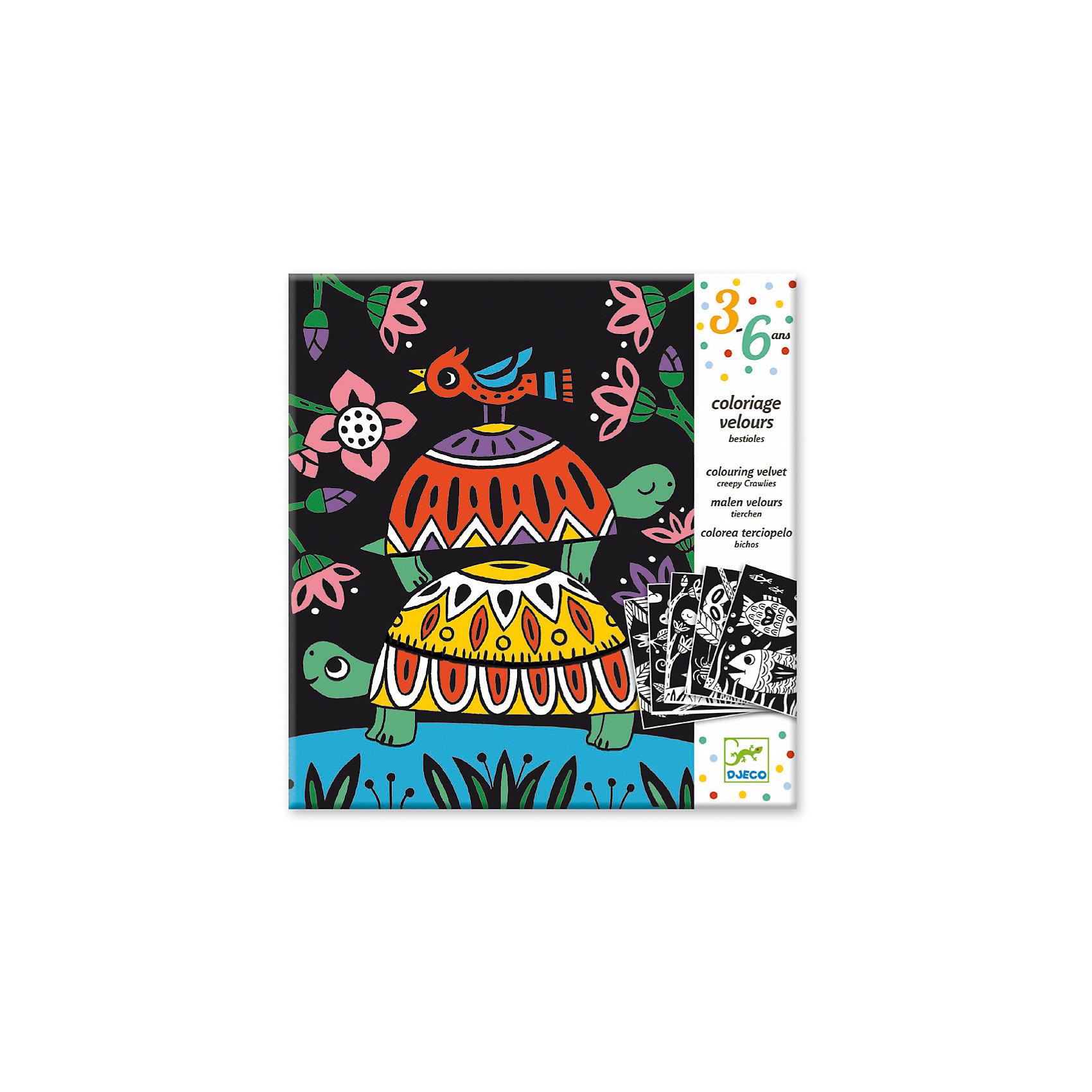 Бархатные раскраски Черепахи, DJECOРаскраски по номерам<br>Бархатные раскраски Черепахи обязательно понравятся всем любителям рисования. Этот наборпоможет ребенку проявить свою фантазию и воображение. Специальный бархатный фон - то нетолько своеобразный и креативный дизайн раскраски, но и некая помогающая деталь, которая непозволит ребенку выйти за рамки рисунка. Готовые картинки получаются яркими и аккуратными.<br><br>Бархатные раскраски Черепахи от торговой марки Djeco (Джеко) можно купить в нашем интернет-магазине.<br><br>Ширина мм: 220<br>Глубина мм: 230<br>Высота мм: 30<br>Вес г: 127<br>Возраст от месяцев: 36<br>Возраст до месяцев: 2147483647<br>Пол: Унисекс<br>Возраст: Детский<br>SKU: 5448820