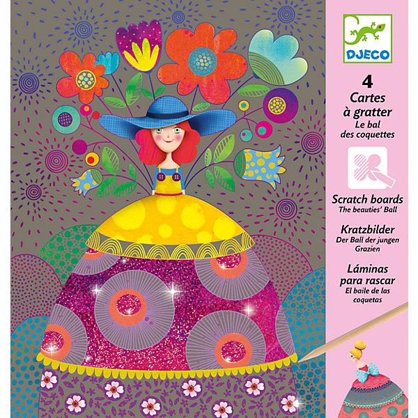 Набор для творчества На балу, DJECOГравюры для детей<br>Характеристики набора для творчества На балу:<br><br>• пол для девочек<br>• возраст: от 3 лет<br>• материал: бумага, дерево, блестки<br>• состав набора: 4 картинки, деревянный стек, подробная инструкция<br>• тип набора: создание картинок<br>• упаковка: картонная коробка<br>• размер упаковки: 22 x 23 см<br>• размер товара: 21,5 х 15 см.<br>• бренд: Djeco<br>• страна обладателя бренда: Франция<br><br>Набор На балу от французского производителя Djeco (Джеко) - необычный набор для детского творчества с удивительным сюрпризом. Используя обыкновенную деревянную палочку, ребенок царапает по картинке, и постепенно начинают проявляться штриховки и узоры. Каждая картинка имеет слои, которые нужно будет стирать палочкой, получая спрятанное за ними изображение. <br><br>Легко и просто, как по волшебству, получаются красивые картинки, изображающие девушек в ярких праздничных платьях, которые пришли на бал. Некоторые части картинок украшены мерцающими блестками. Когда блестки появляются, рисунки смотрятся еще более завораживающими.<br><br>Наборы для детского творчества развивают фантазию, воображение и творческие способности ребенка, учат его внимательности и усидчивости. <br><br>Набор для творчества На балу торговой марки Djeco (Джеко) можно купить в нашем интернет-магазине.<br><br>Ширина мм: 220<br>Глубина мм: 230<br>Высота мм: 20<br>Вес г: 108<br>Возраст от месяцев: 72<br>Возраст до месяцев: 2147483647<br>Пол: Женский<br>Возраст: Детский<br>SKU: 5448824
