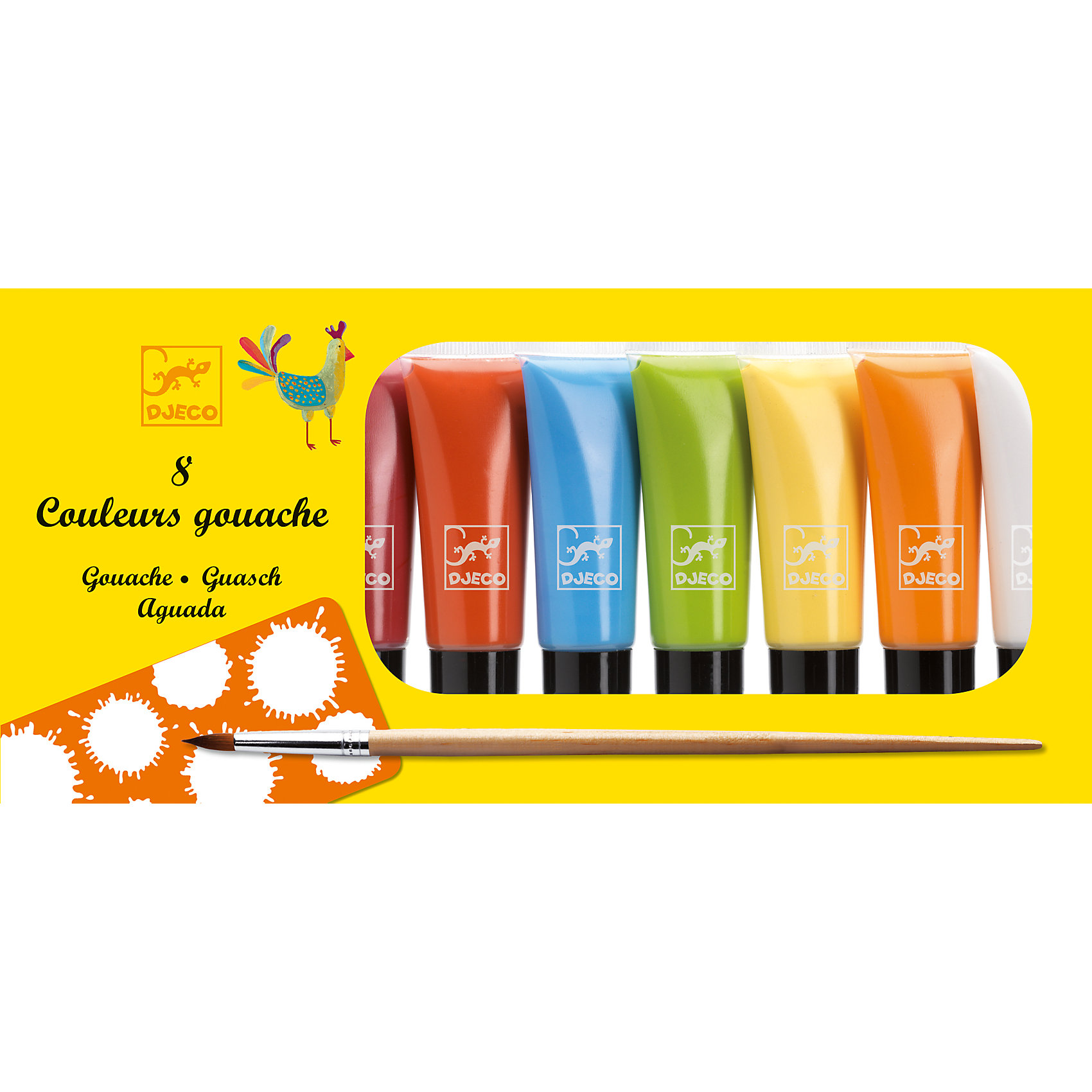 Наборы с красками Гуашь, 8 пастельных цветов, DJECOРисование<br>Характеристики набора с красками гуашь, 8 пастельных цветов:<br><br>• возраст: от 6 лет<br>• пол: универсальный<br>• комплект: 8 тюбиков с красками по 22 мл, пластиковая палитра для смешивания цветов, кисточка<br>• состав: картон, пластик.<br>• бренд: Djeco<br>• страна обладатель бренда: Франция.<br><br>Рисование превосходно развивает фантазию и творческие способности ребенка. А с качественным набором гуаши пастельных цветов творить картины приятнее вдвойне! Набор гуаши нежных пастельных цветов особенно понраится девочкам, с его помощью можно нарисовать множество цветочков, бабочек и принцесс. <br><br>Краски нетоксичные, высокого качества, абсолютно безопасны для детей. <br>Цвета: бордовый, розовый, сиреневый, голубой, оранжевый, желтый, зеленый, белый. <br>Краски рекомендованы для детей от 6 лет. <br>Набор продается в яркой коробке и идеально подходит в качестве подарка. <br><br>Купить набор гуаши 8 пастельных цветов от торговой марки Djeco (Джеко) Вы можете в нашем интернет магазине.<br><br>Ширина мм: 230<br>Глубина мм: 120<br>Высота мм: 30<br>Вес г: 176<br>Возраст от месяцев: 72<br>Возраст до месяцев: 2147483647<br>Пол: Унисекс<br>Возраст: Детский<br>SKU: 5448826