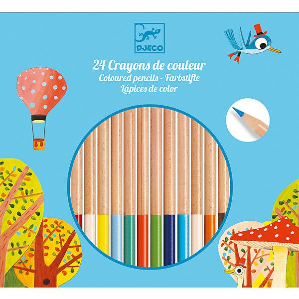 Цветные карандаши 24 шт., DJECOЦветные<br>Характеристики цветных карандашей:<br><br>• возраст: от 3 лет<br>• пол: универсальный<br>• тип: 24 карандаша<br>• материал: дерево<br>• размер упаковки: 18.5 х 20 х 1 см.<br>• упаковка: картонная коробка открытого типа.<br>• длина карандаша: 18 см<br>• бренд: Djeco<br>• страна обладатель бренда: Франция.<br><br>Цветные карандаши от Djeco понравятся малышам и взрослым. 24 разных цвета позволятпреобразить рисунок и придать ему необычайное  сияние. Карандаши сделаны из качественныхматериалов. Древесина легко точится, а стержень сделан из мягкого композита, благодаря чему им очень удобно рисовать. Цвет ложится гладко и равномерно, превращая процесс раскрашиванияили рисования в незабываемое путешествие.<br><br>Набор цветных карандашей от торговой марки Djeco (Джеко) можно купить в нашем интернет-магазине.<br>Ширина мм: 200; Глубина мм: 19; Высота мм: 10; Вес г: 180; Возраст от месяцев: 36; Возраст до месяцев: 2147483647; Пол: Унисекс; Возраст: Детский; SKU: 5448831;