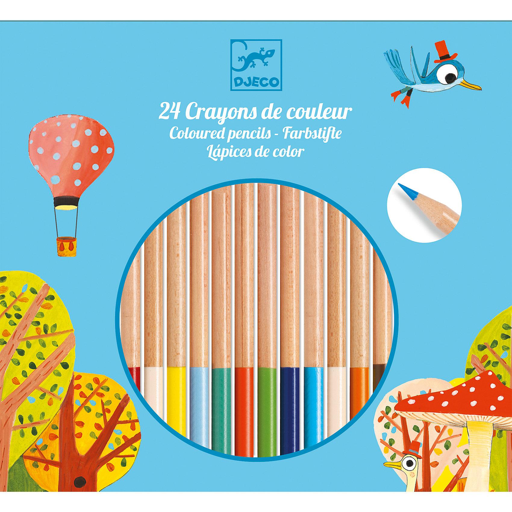 Цветные карандаши 24 шт., DJECOПисьменные принадлежности<br>Характеристики цветных карандашей:<br><br>• возраст: от 3 лет<br>• пол: универсальный<br>• тип: 24 карандаша<br>• материал: дерево<br>• размер упаковки: 18.5 х 20 х 1 см.<br>• упаковка: картонная коробка открытого типа.<br>• длина карандаша: 18 см<br>• бренд: Djeco<br>• страна обладатель бренда: Франция.<br><br>Цветные карандаши от Djeco понравятся малышам и взрослым. 24 разных цвета позволятпреобразить рисунок и придать ему необычайное  сияние. Карандаши сделаны из качественныхматериалов. Древесина легко точится, а стержень сделан из мягкого композита, благодаря чему им очень удобно рисовать. Цвет ложится гладко и равномерно, превращая процесс раскрашиванияили рисования в незабываемое путешествие.<br><br>Набор цветных карандашей от торговой марки Djeco (Джеко) можно купить в нашем интернет-магазине.<br><br>Ширина мм: 200<br>Глубина мм: 19<br>Высота мм: 10<br>Вес г: 180<br>Возраст от месяцев: 36<br>Возраст до месяцев: 2147483647<br>Пол: Унисекс<br>Возраст: Детский<br>SKU: 5448831