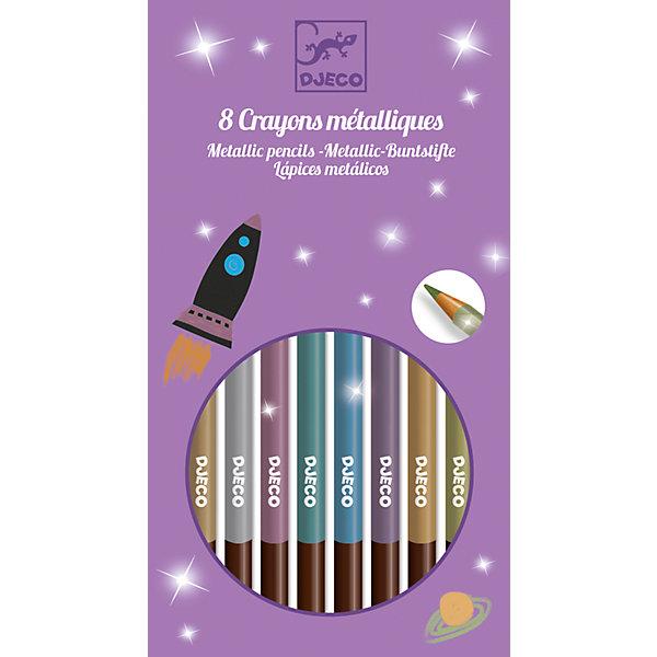 Набор карандашей металлик, 8 шт., DJECOЦветные<br>Характеристики набора карандашей металлик:<br><br>• возраст: от 4 лет<br>• пол: универсальный<br>• комплект: 8 карандашей.<br>• материал: дерево<br>• состав: пластик, краситель.<br>• размер упаковки: 13 х 19 х 1 см.<br>• упаковка: картонная коробка .<br>• бренд: Djeco<br>• страна обладатель бренда: Франция.<br><br>Набор из 12 карандашей от Djeco обязательно понравится вашему ребенку, ведь с их помощью он сможет украсить любимые рисунки! Карандаши создают линию яркого, насыщенного цвета с металлическим блеском. <br>Игрушка развивает творческие способности, фантазию и мелкую моторику рук ребенка. <br><br>Набор карандашей металлик от торговой марки Djeco (Джеко) можно купить в нашем интернет-магазине.<br><br>Ширина мм: 100<br>Глубина мм: 18<br>Высота мм: 10<br>Вес г: 230<br>Возраст от месяцев: 72<br>Возраст до месяцев: 2147483647<br>Пол: Унисекс<br>Возраст: Детский<br>SKU: 5448832
