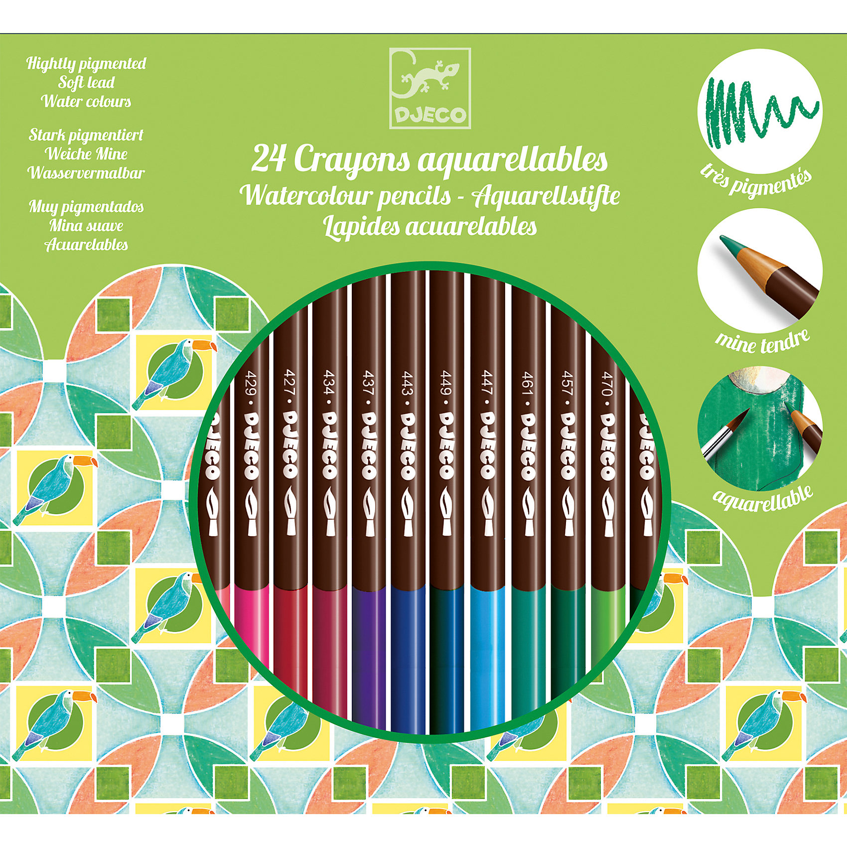 Набор акварельных карандашей, 24 шт., DJECOРисование и лепка<br>Характеристики набора акварельных карандашей:<br><br>• возраст: от 3 лет<br>• пол: универсальный<br>• комплект: 24 карандаша.<br>• состав: пластик<br>• размер упаковки: 20 х 18 х 1 см.<br>• упаковка: картонная коробка .<br>• бренд: Djeco<br>• страна обладатель бренда: Франция.<br><br>С набором акварельных карандашей процесс раскрашивания будет легким и приятным. Цвет без труда ложатся на бумагу. Если обмакивать карандаши в воду, то получится эффект акварельных красок. Это помогает тренироваться в осваивании различных техник раскрашивания. Любой рисунок с таким набором цветов оживет и станет украшением альбома.<br><br>Набор акварельных карандашей от торговой марки Djeco (Джеко) можно купить в нашем интернет-магазине.<br><br>Ширина мм: 190<br>Глубина мм: 183<br>Высота мм: 10<br>Вес г: 180<br>Возраст от месяцев: 36<br>Возраст до месяцев: 2147483647<br>Пол: Унисекс<br>Возраст: Детский<br>SKU: 5448833