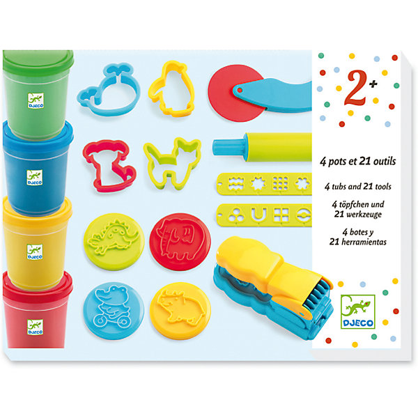 Набор для творчества с пластилином, DJECOНаборы для лепки<br>Характеристики набора для творчества На балу:<br><br>• пол: универсальный<br>• возраст: от 3 лет<br>• комплект: 4 баночки с пластилином, скалка, ножичек, 8 формочек, 8 штампов, пресс для пластилина<br>• состав набора: пластик, пластилин<br>• тип набора: создание картинок<br>• упаковка: картонная коробка<br>• размер упаковки: 27 x 20 х 7 см<br>• вес баночек пластилина: 140 гр.<br>• бренд: Djeco<br>• страна обладателя бренда: Франция<br><br>Набор для творчества Пластилин производителя Djeco - это комплект самых разнообразных инструментов для деятельности с пластилином. В нем можно найти несколько интересных инструментов и формочек, а также баночек с разноцветной массой для лепки.<br><br>Пластилин изготовлен из качественных материалов и не принесет ребенку вреда, однако нужно проследить чтобы малыш не кушал его. Благодаря инструменту с прессом можно выдавливать необычные полосочки и делать из них удивительные картины.<br><br>Набор для творчества с пластилином торговой марки Djeco (Джеко) можно купить в нашем интернет-магазие.<br><br>Ширина мм: 280<br>Глубина мм: 210<br>Высота мм: 70<br>Вес г: 910<br>Возраст от месяцев: 36<br>Возраст до месяцев: 2147483647<br>Пол: Унисекс<br>Возраст: Детский<br>SKU: 5448834