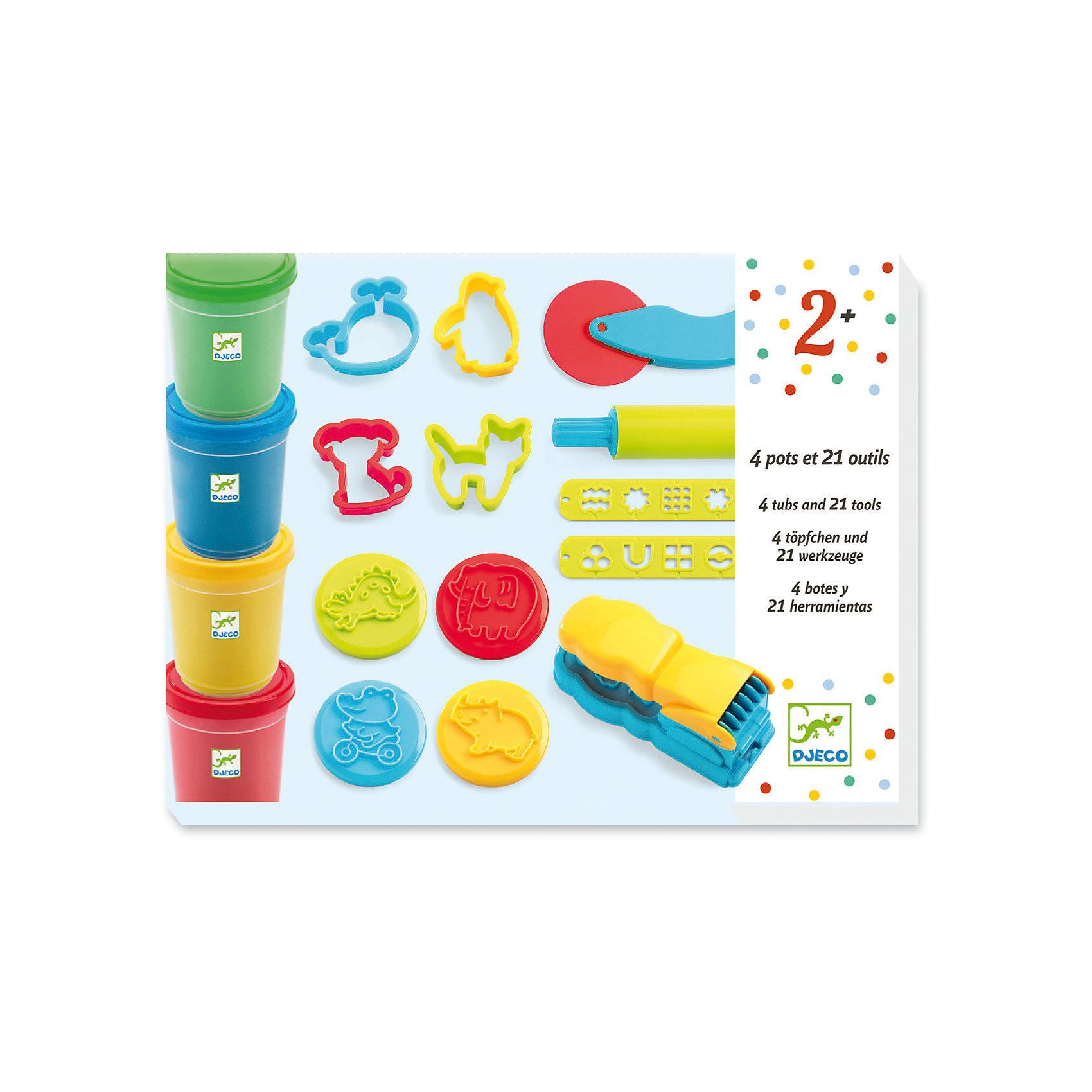 Набор для творчества с пластилином, DJECOЛепка<br>Характеристики набора для творчества На балу:<br><br>• пол: универсальный<br>• возраст: от 3 лет<br>• комплект: 4 баночки с пластилином, скалка, ножичек, 8 формочек, 8 штампов, пресс для пластилина<br>• состав набора: пластик, пластилин<br>• тип набора: создание картинок<br>• упаковка: картонная коробка<br>• размер упаковки: 27 x 20 х 7 см<br>• вес баночек пластилина: 140 гр.<br>• бренд: Djeco<br>• страна обладателя бренда: Франция<br><br>Набор для творчества Пластилин производителя Djeco - это комплект самых разнообразных инструментов для деятельности с пластилином. В нем можно найти несколько интересных инструментов и формочек, а также баночек с разноцветной массой для лепки.<br><br>Пластилин изготовлен из качественных материалов и не принесет ребенку вреда, однако нужно проследить чтобы малыш не кушал его. Благодаря инструменту с прессом можно выдавливать необычные полосочки и делать из них удивительные картины.<br><br>Набор для творчества с пластилином торговой марки Djeco (Джеко) можно купить в нашем интернет-магазие.<br><br>Ширина мм: 280<br>Глубина мм: 210<br>Высота мм: 70<br>Вес г: 910<br>Возраст от месяцев: 36<br>Возраст до месяцев: 2147483647<br>Пол: Унисекс<br>Возраст: Детский<br>SKU: 5448834